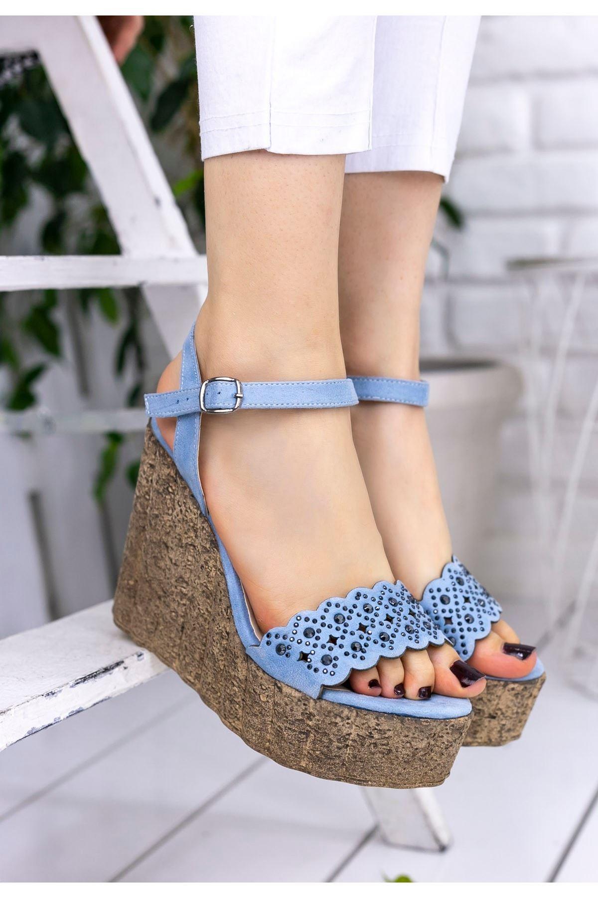 Pinhan Bebe Mavisi Süet Dolgu Topuk Sandalet