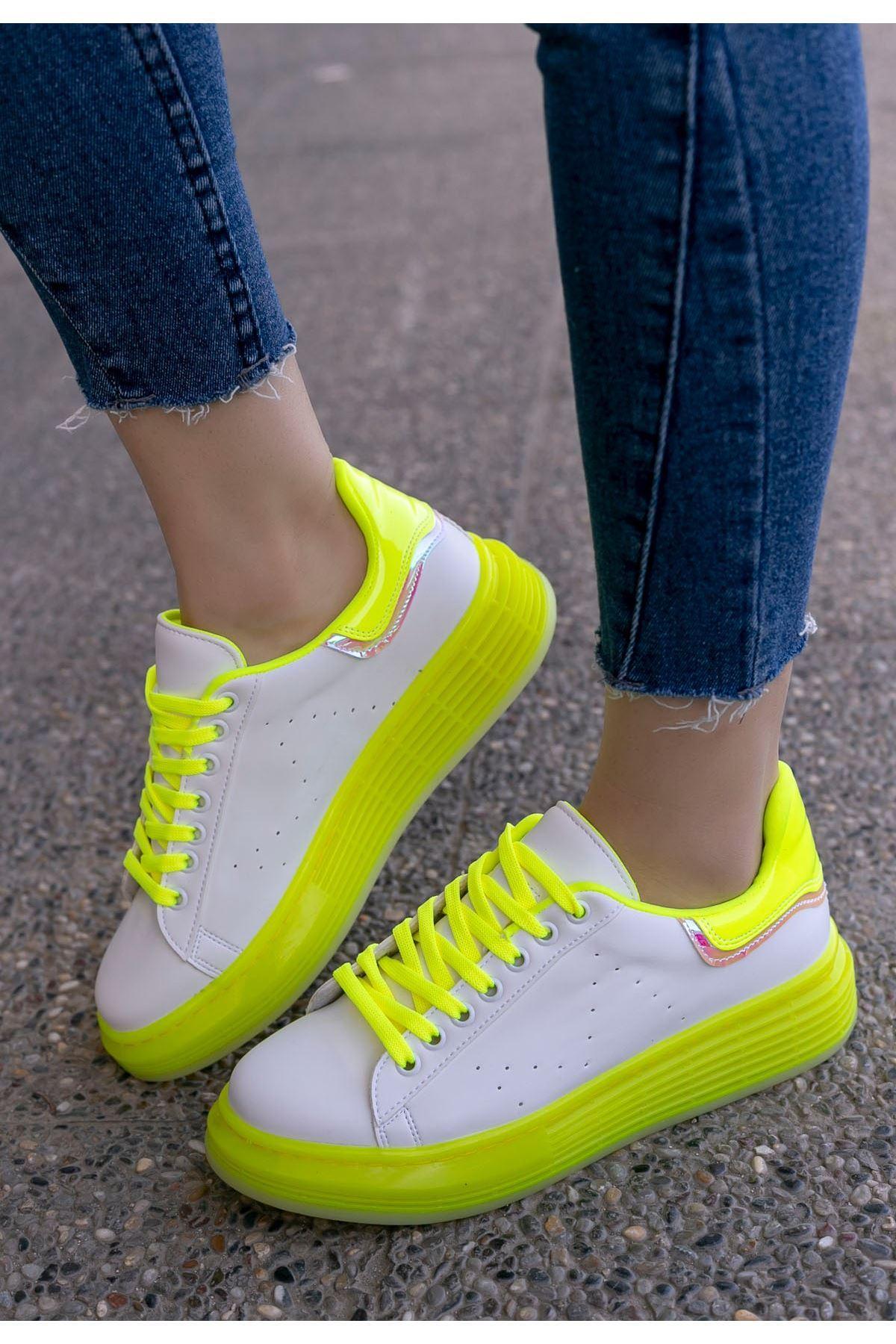 Vicary Beyaz Cilt Sarı Tabanlı Spor Ayakkabı