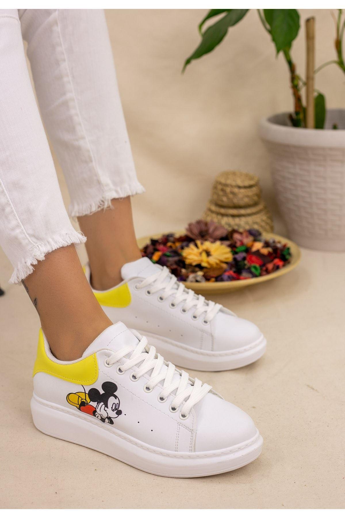 Neomixi Beyaz Mickey Mause Sarı Detaylı Spor Ayakkabı