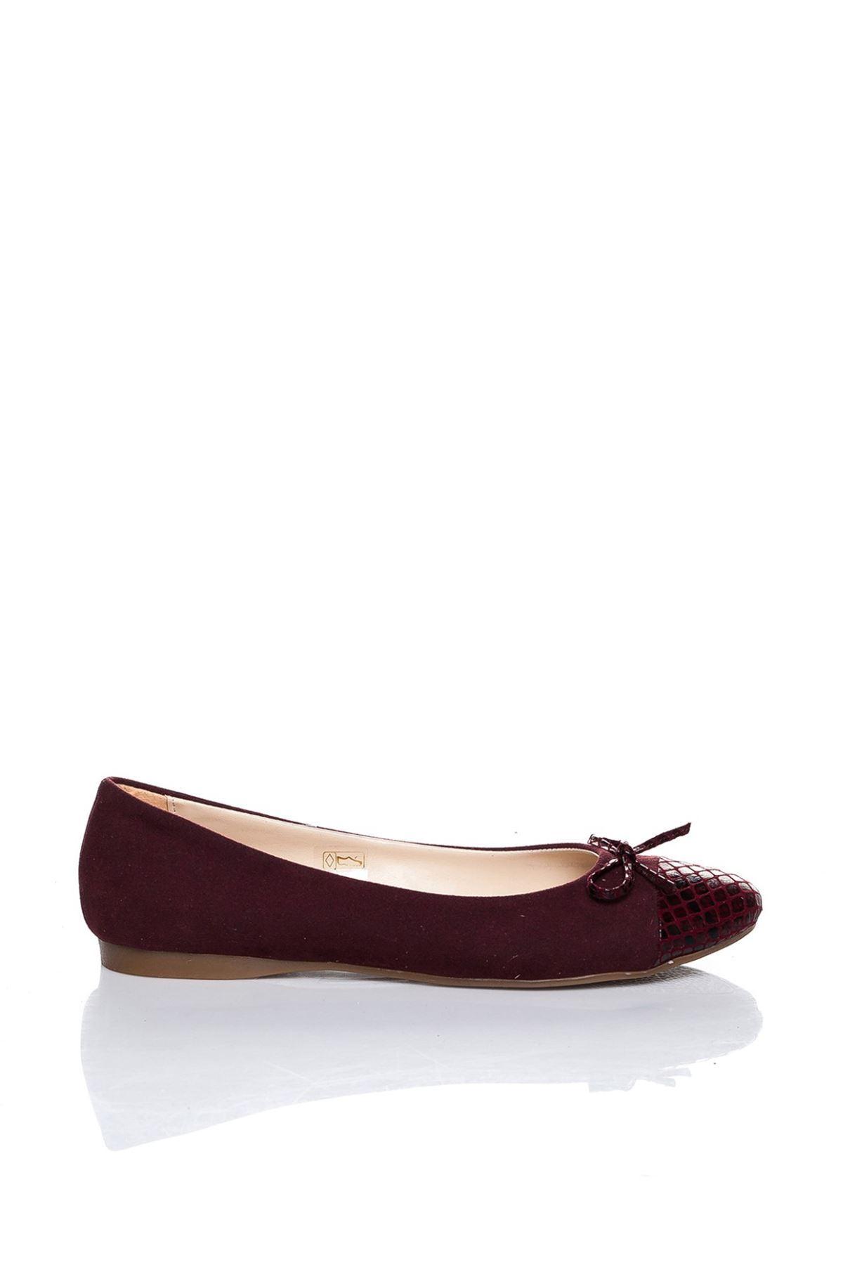 Lela Bordo Süet Cilt Detaylı Babet Ayakkabı