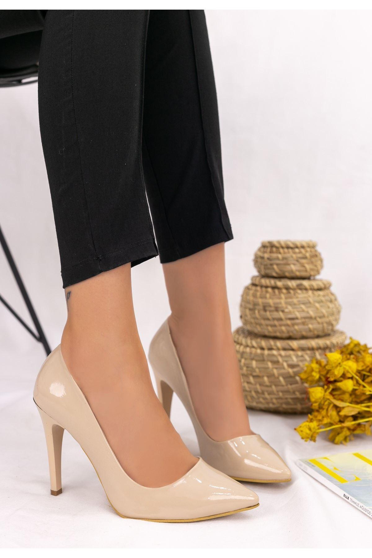 Taylox Vizon Rugan Stiletto Ayakkabı
