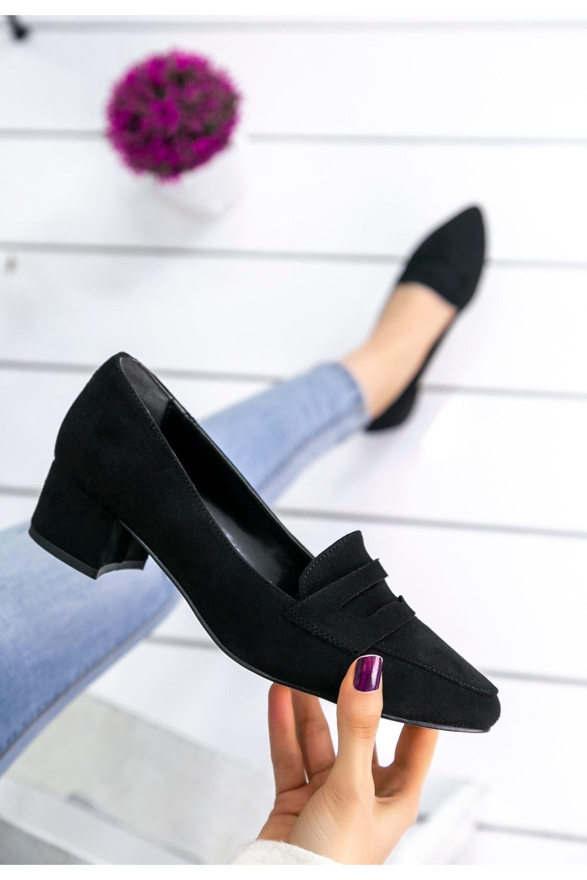 Reyna Siyah Süet Topuklu Ayakkabı