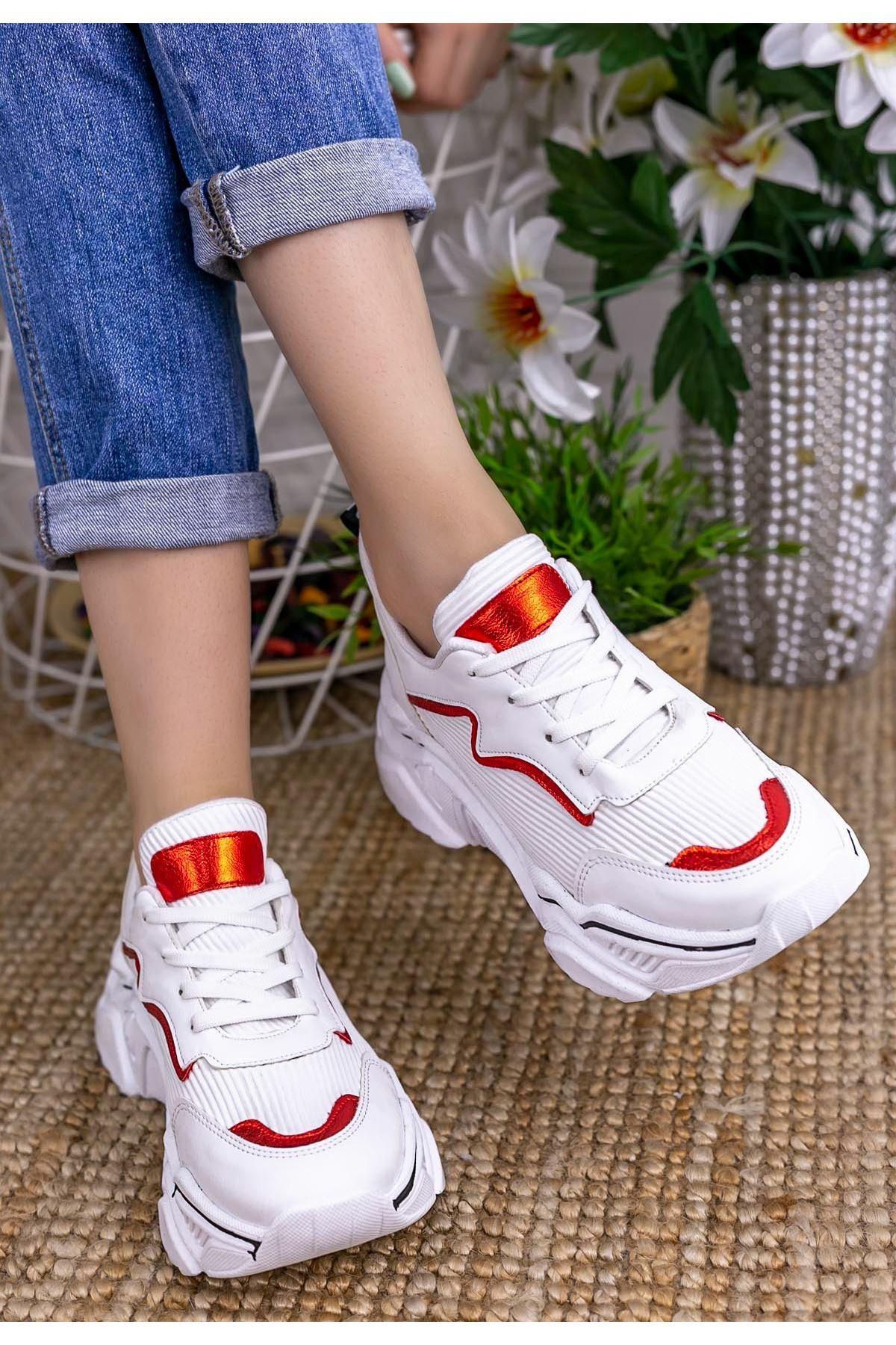 Vira  Beyaz Cilt Kırmızı Siyah Detaylı Spor Ayakkabı