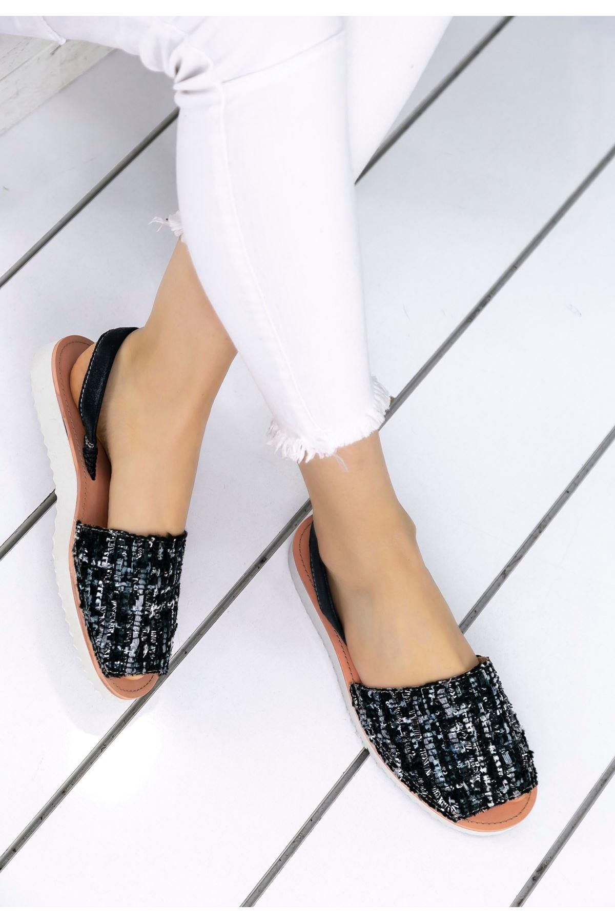 Samiye Siyah Kadife Simli Sandalet