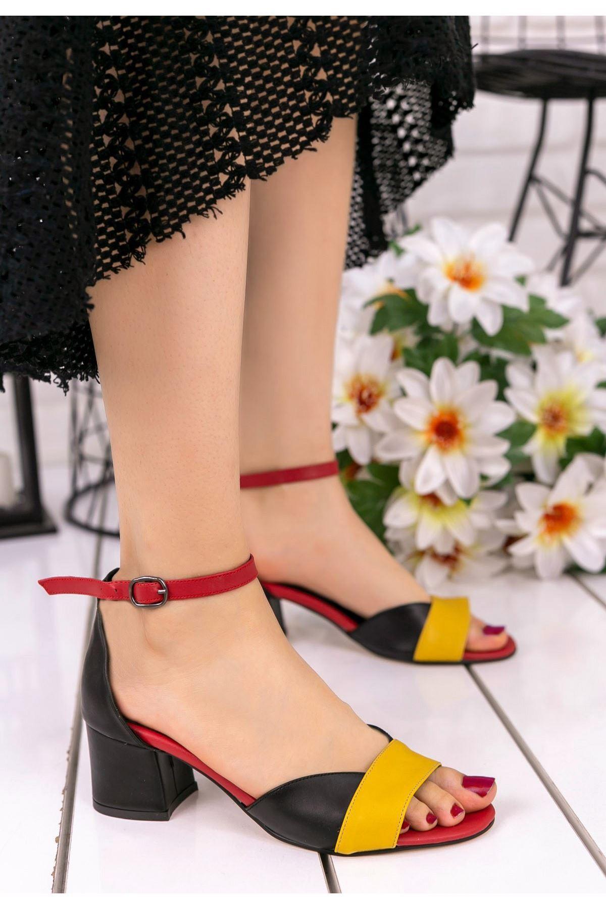 Kaina Hardal Cilt Renkli Topuklu Ayakkabı