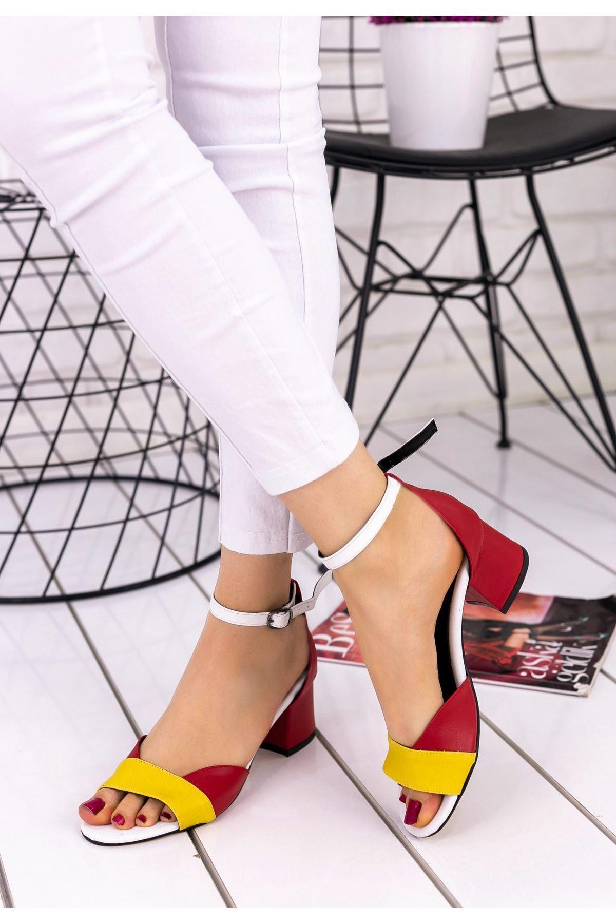 Kaina Sarı Cilt Renkli Topuklu Ayakkabı