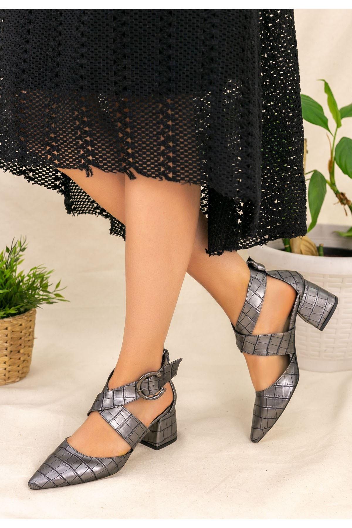 Marvin Gri Cilt Desenli Topuklu Ayakkabı