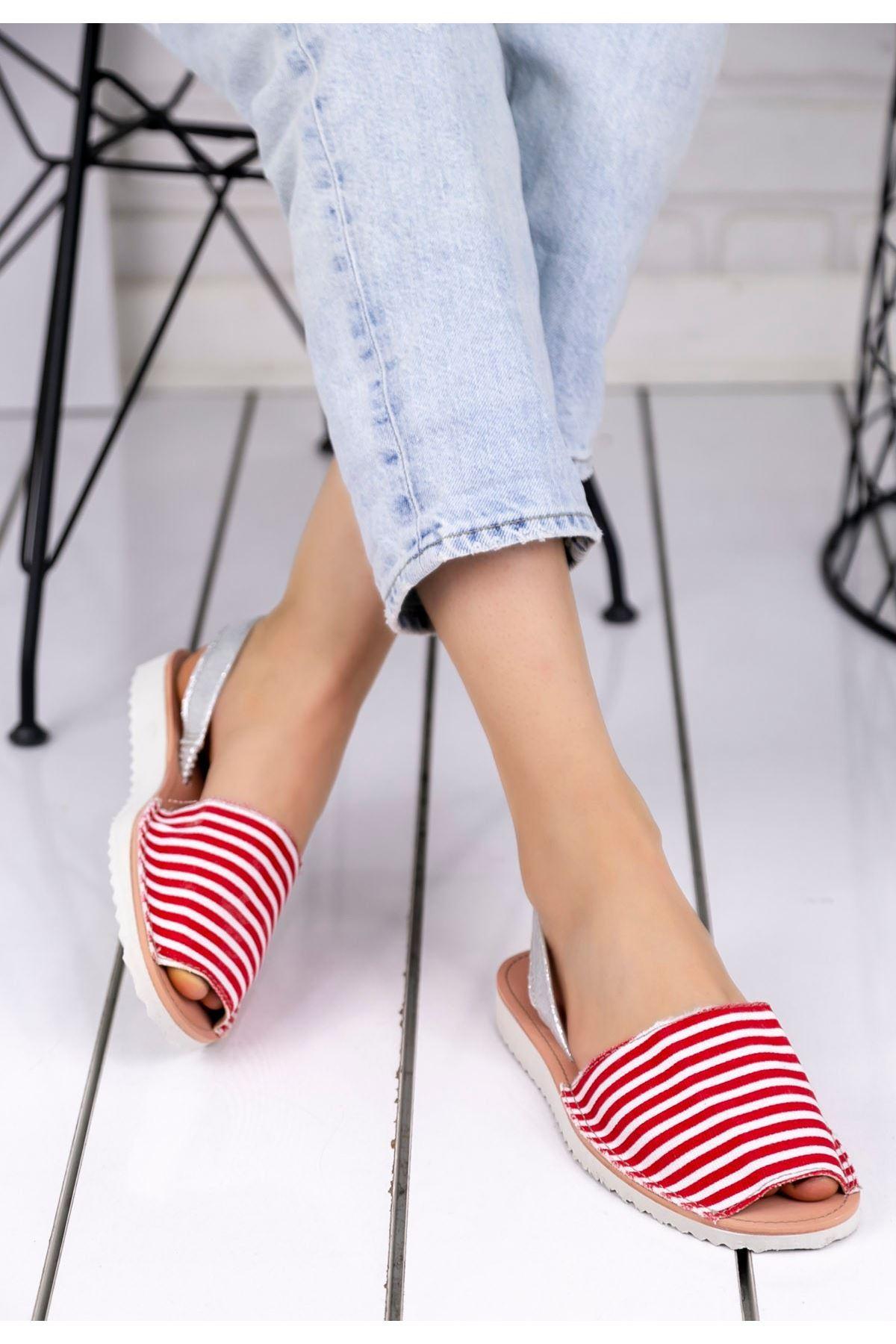 Samiye Kırmızı Beyaz Çizgili Sandalet