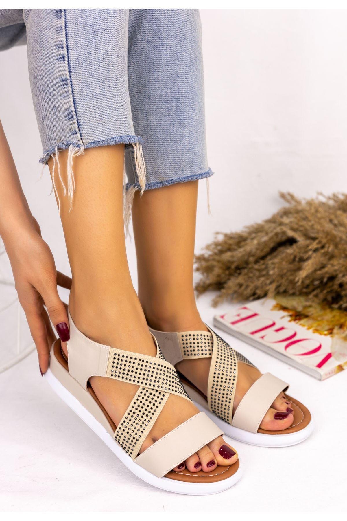 Teylo Krem Cilt Sandalet