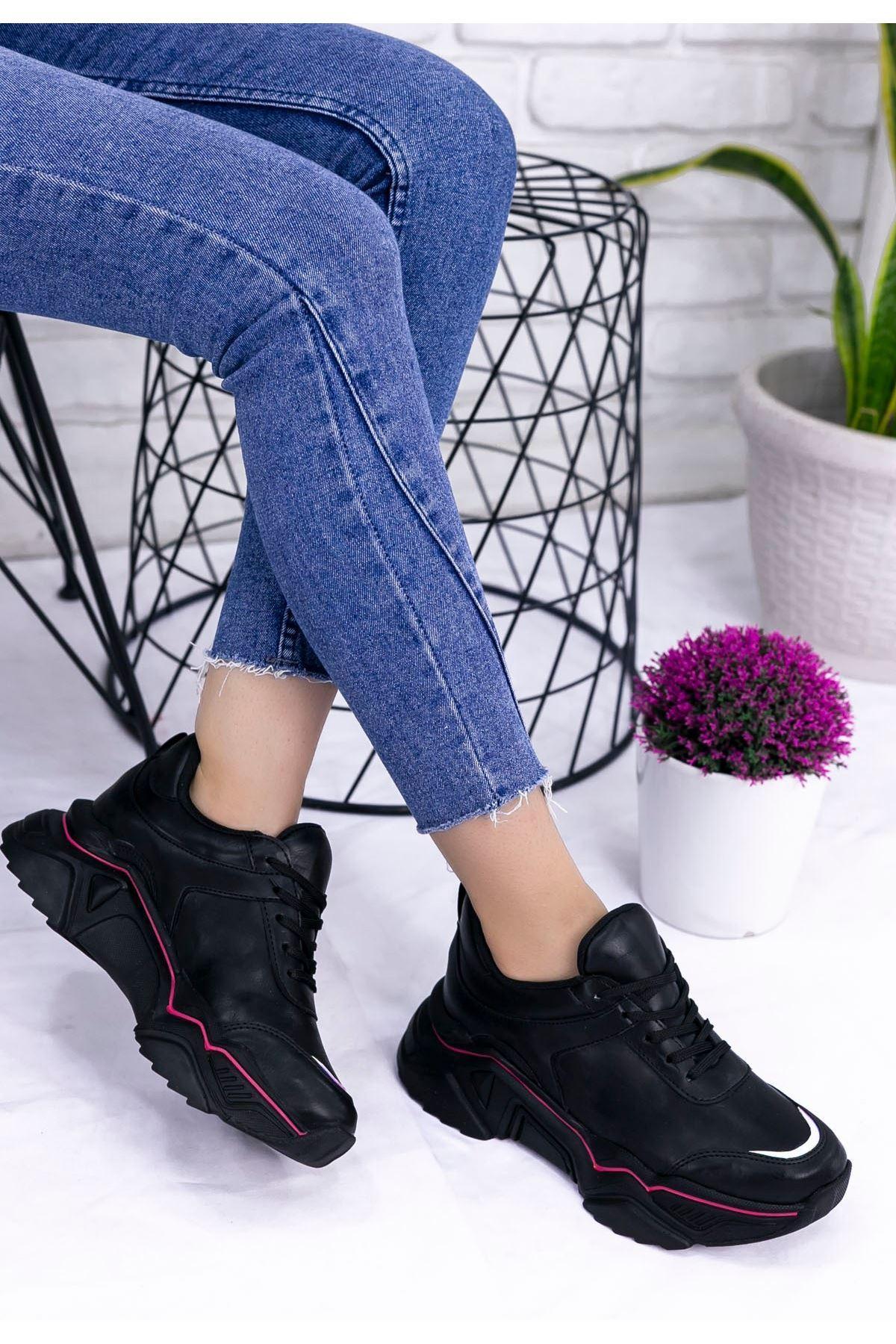 Vira Siyah Cilt Kırmız Şeritli Spor Ayakkabı