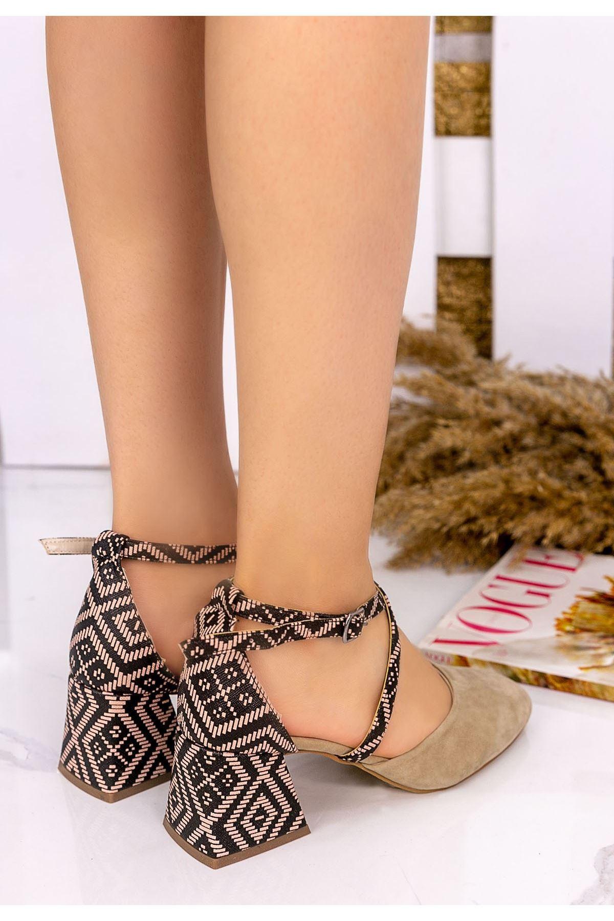 Londa Vizon Süet Kilim Detaylı Ayakkabı