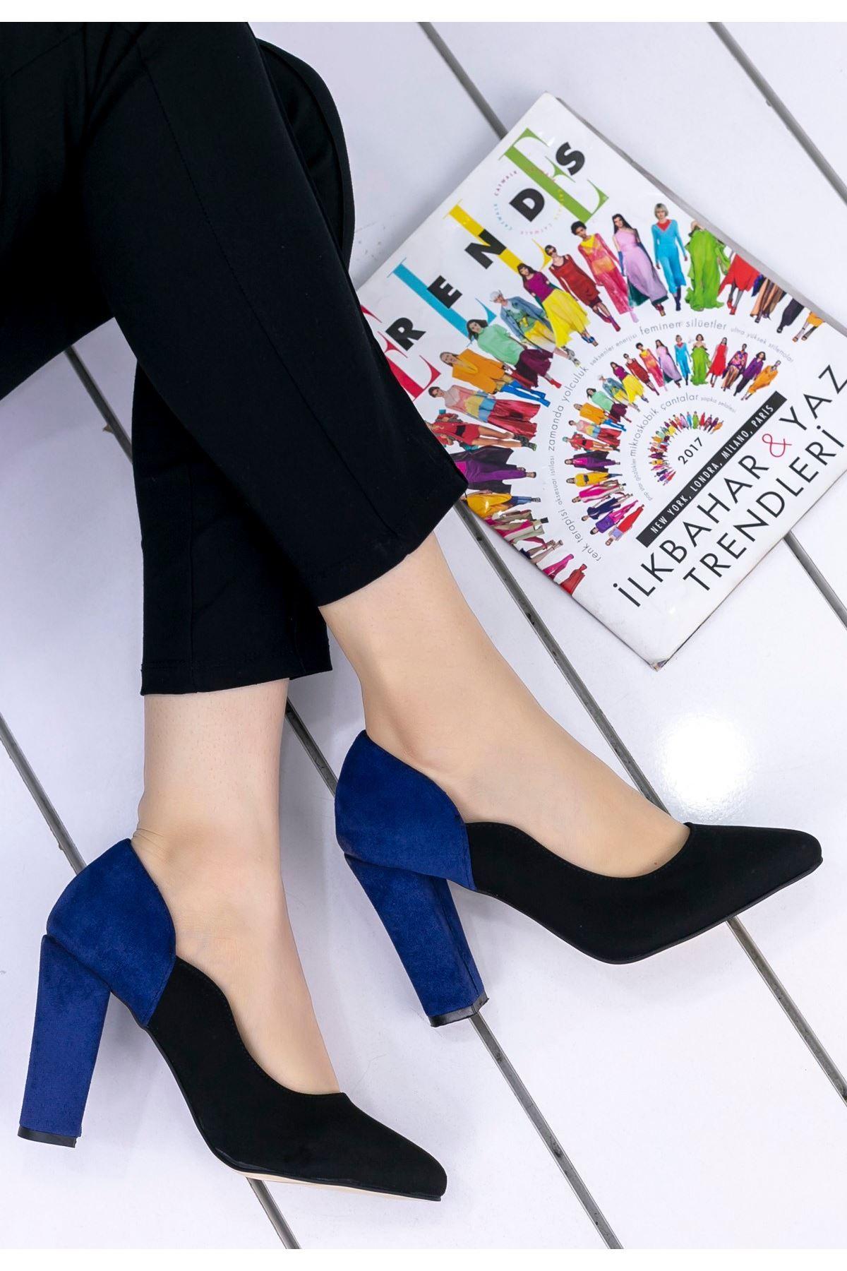 İlene Siyah Süet Lacivert Topuklu Ayakkabı