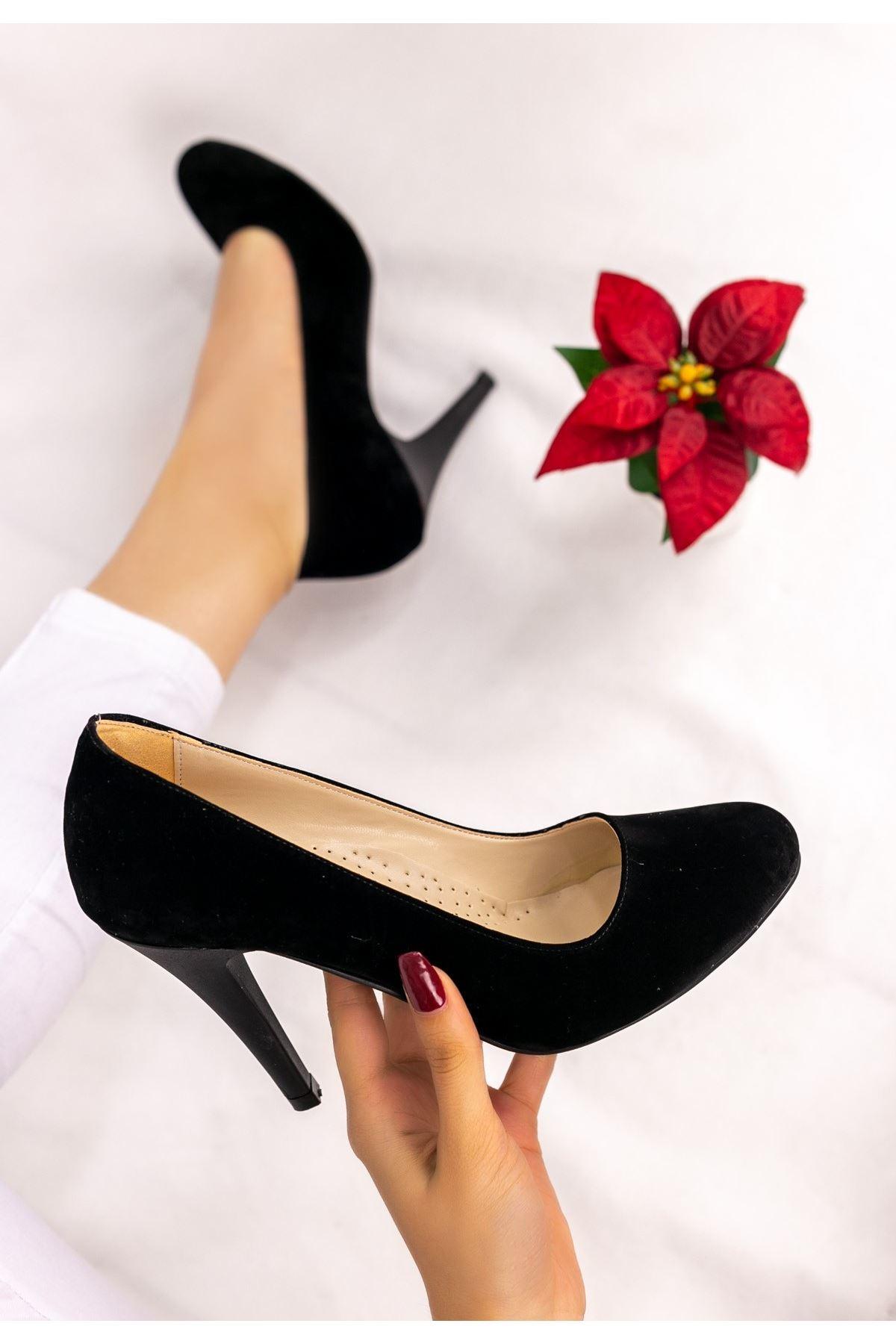 Parik Siyah Süet Stiletto Ayakkabı