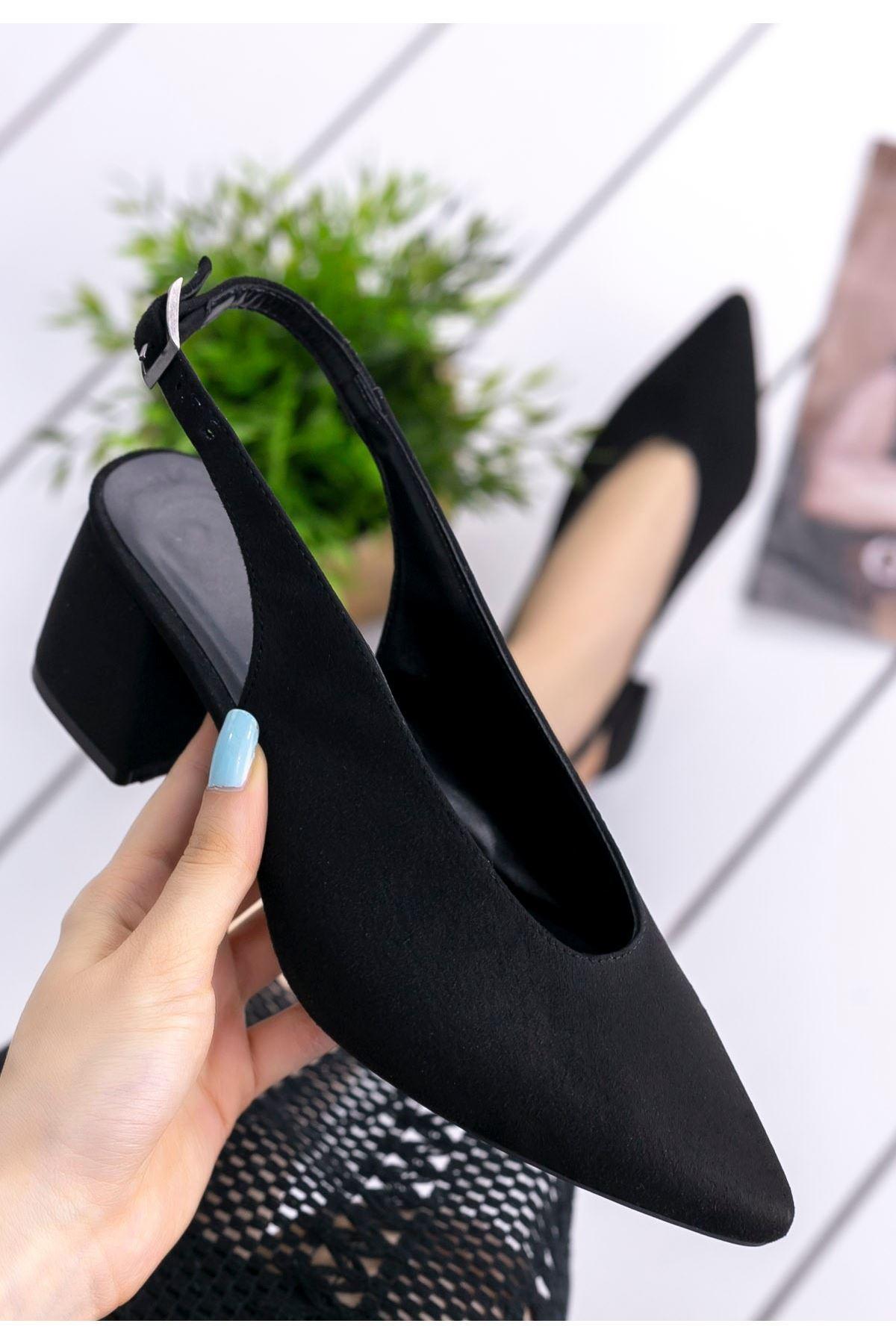 Fawn Siyah Süet Topuklu Ayakkabı