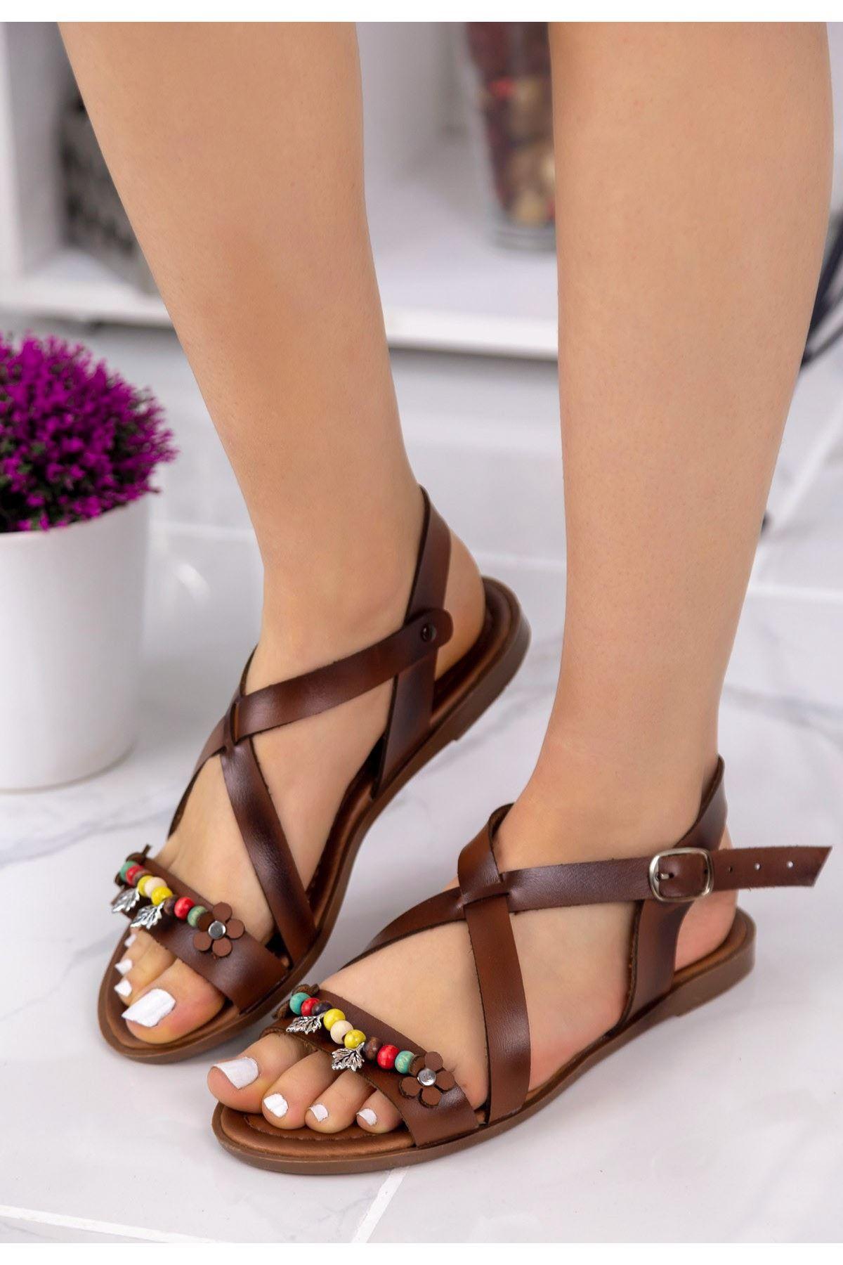 Bette Taba Boncuklu Sandalet
