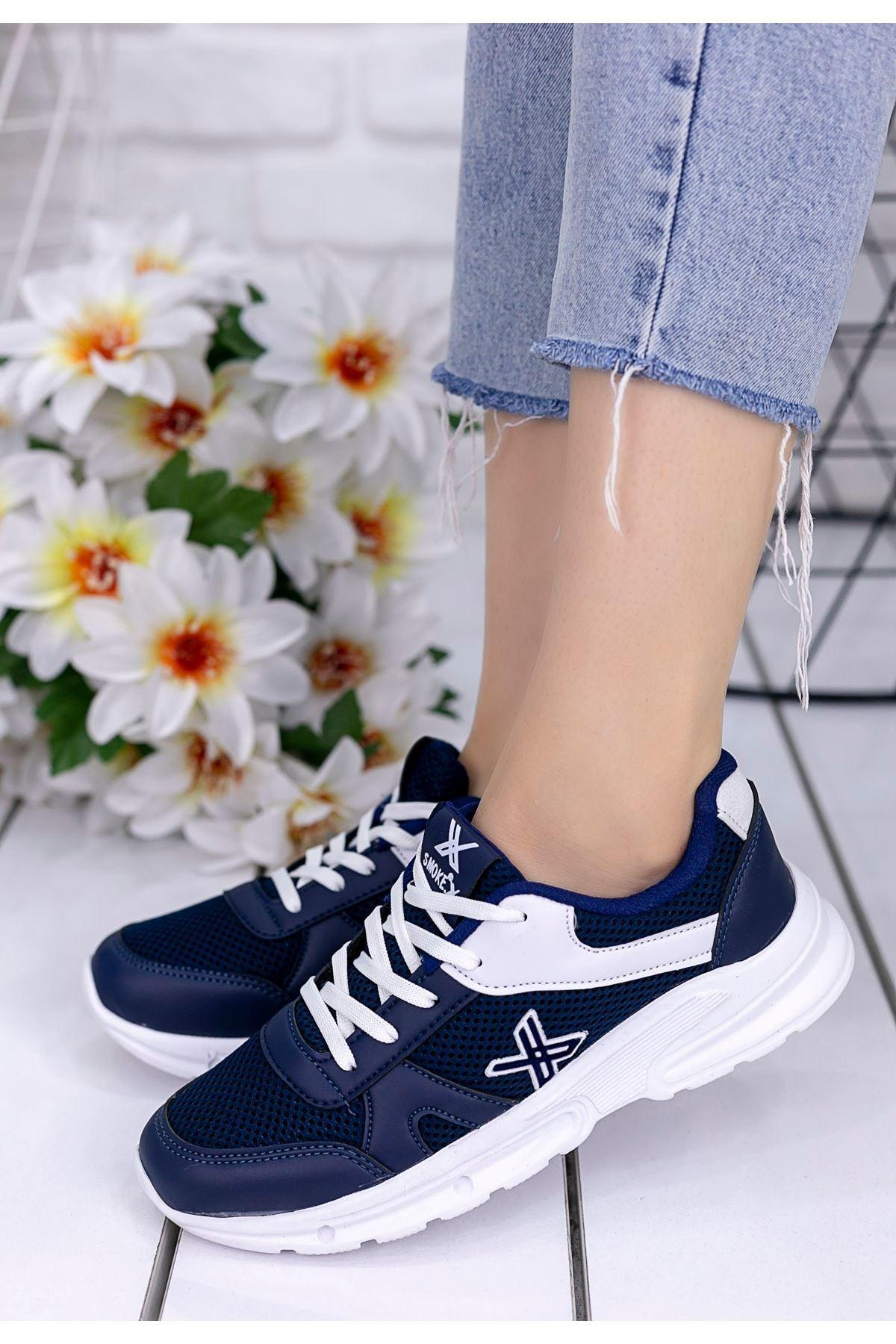 Selis Lacivert Cilt Beyaz Detaylı Spor Ayakkabı