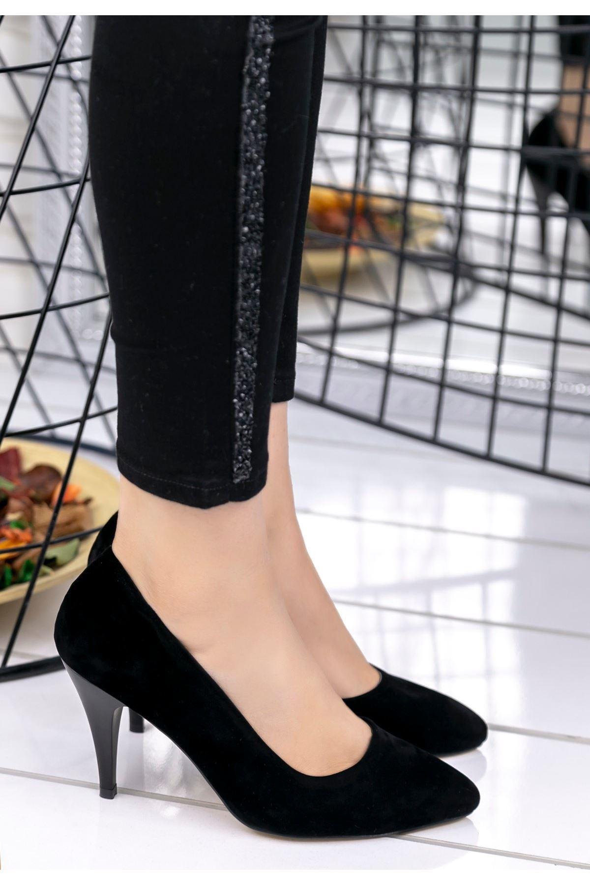 Helena Siyah Süet Stiletto Ayakkabı