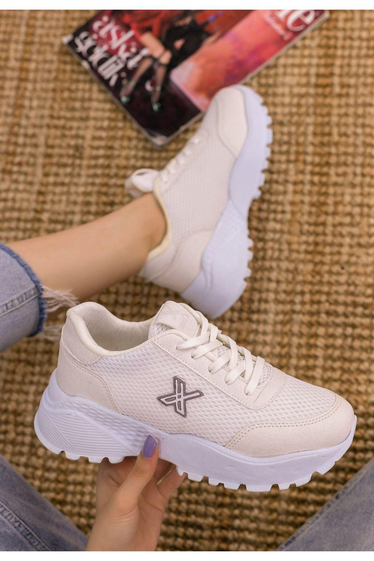 Laxi Krem Cilt Gri Detaylı Spor Ayakkabı