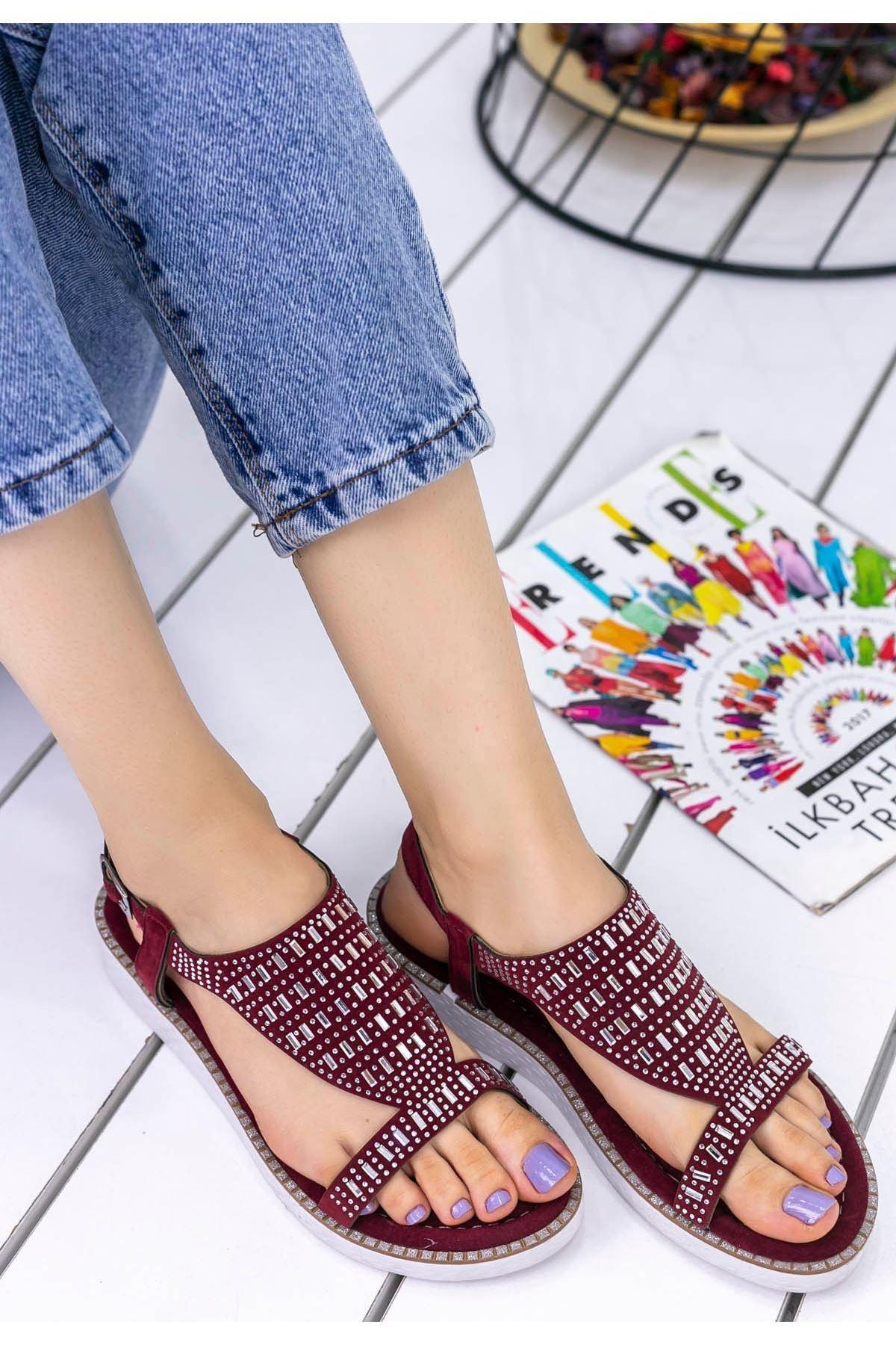 Antvan Bordo Süet Taşlı Sandalet