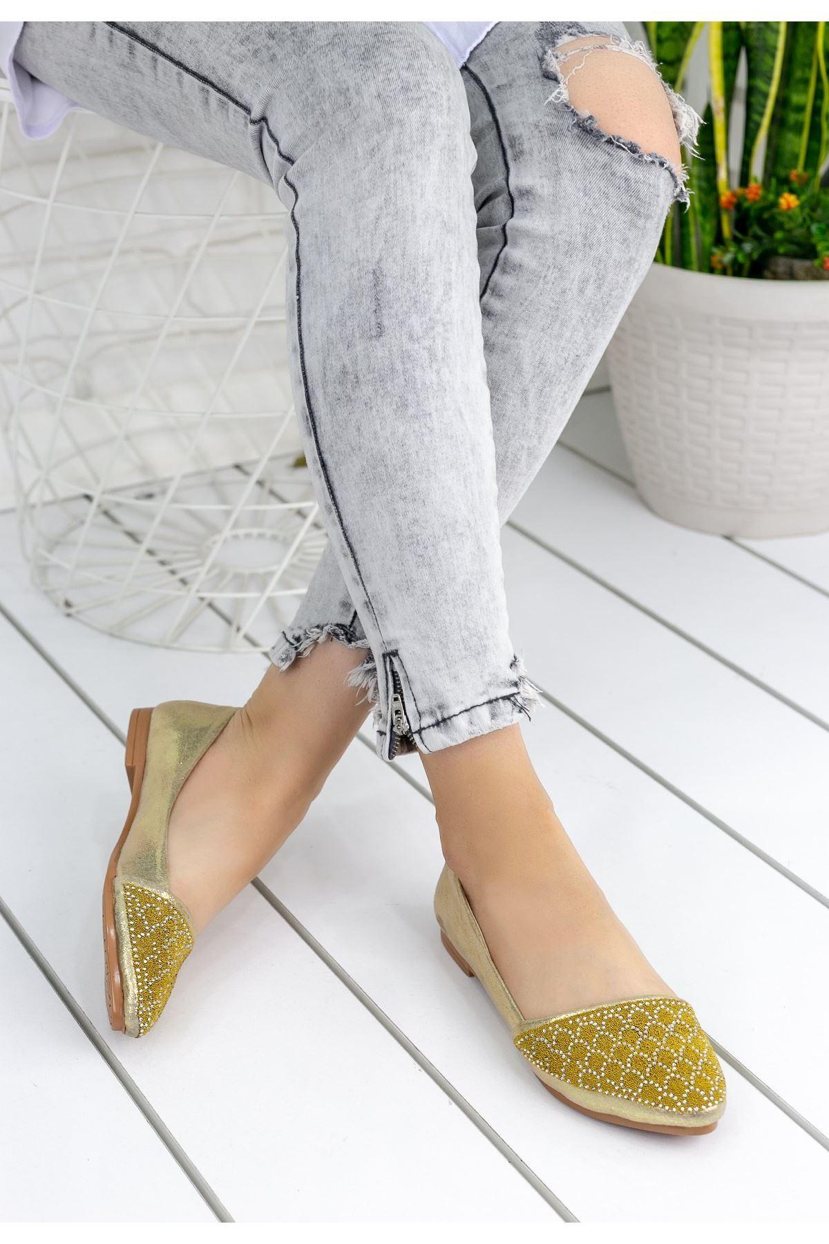 Mariella Altın Sarısı Babet Ayakkabı