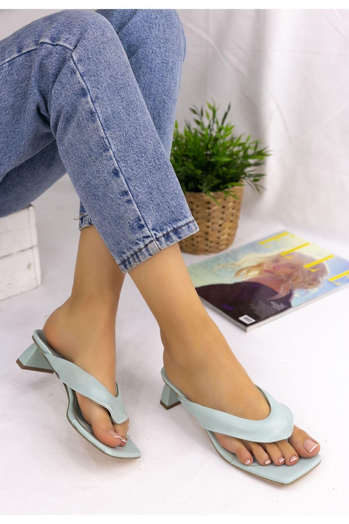 Braxi Su Yeşili Cilt Topuklu Ayakkabı