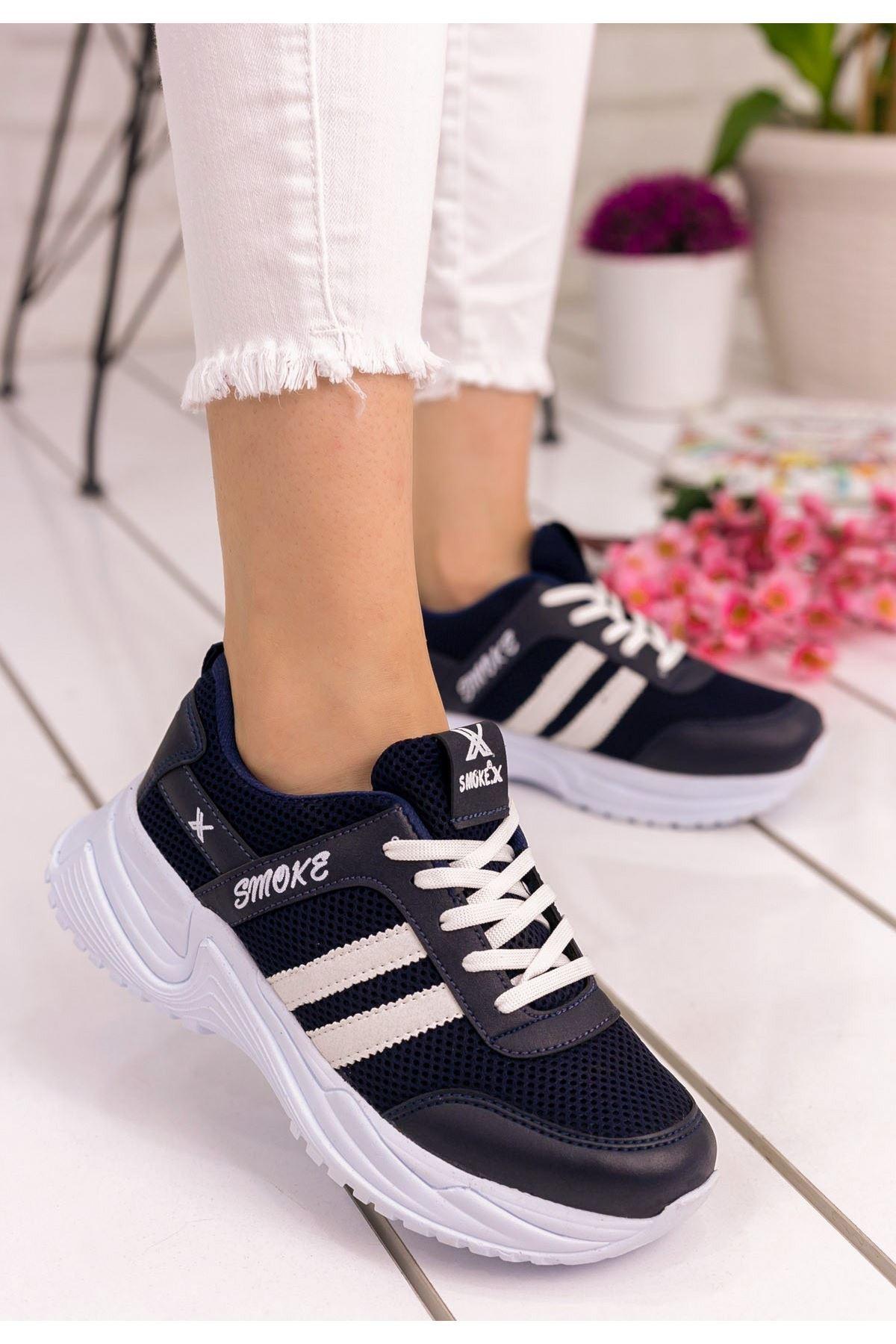 Kelsi Lacivert Cilt Beyaz şeritli Spor Ayakkabı