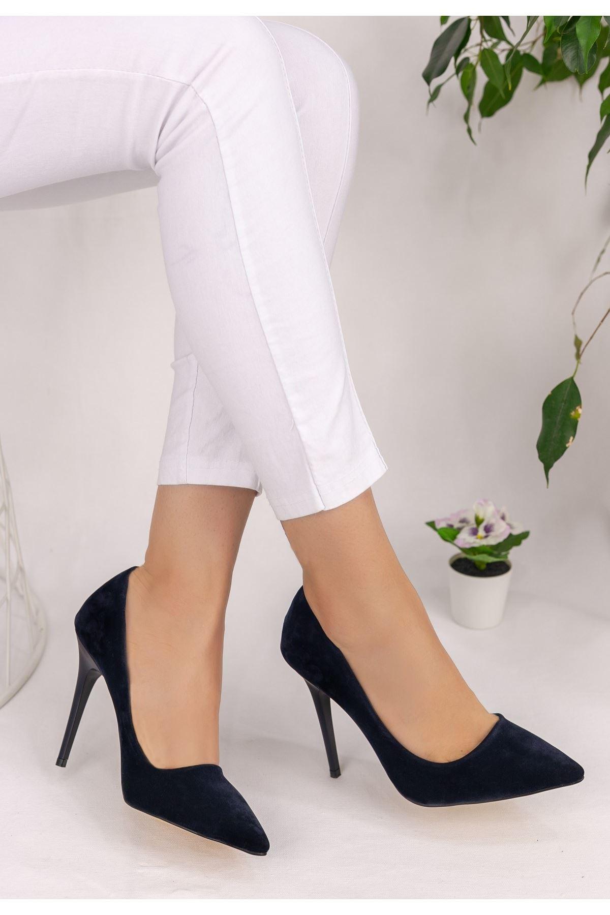 Muad Lacivert Süet Stiletto Ayakkabı