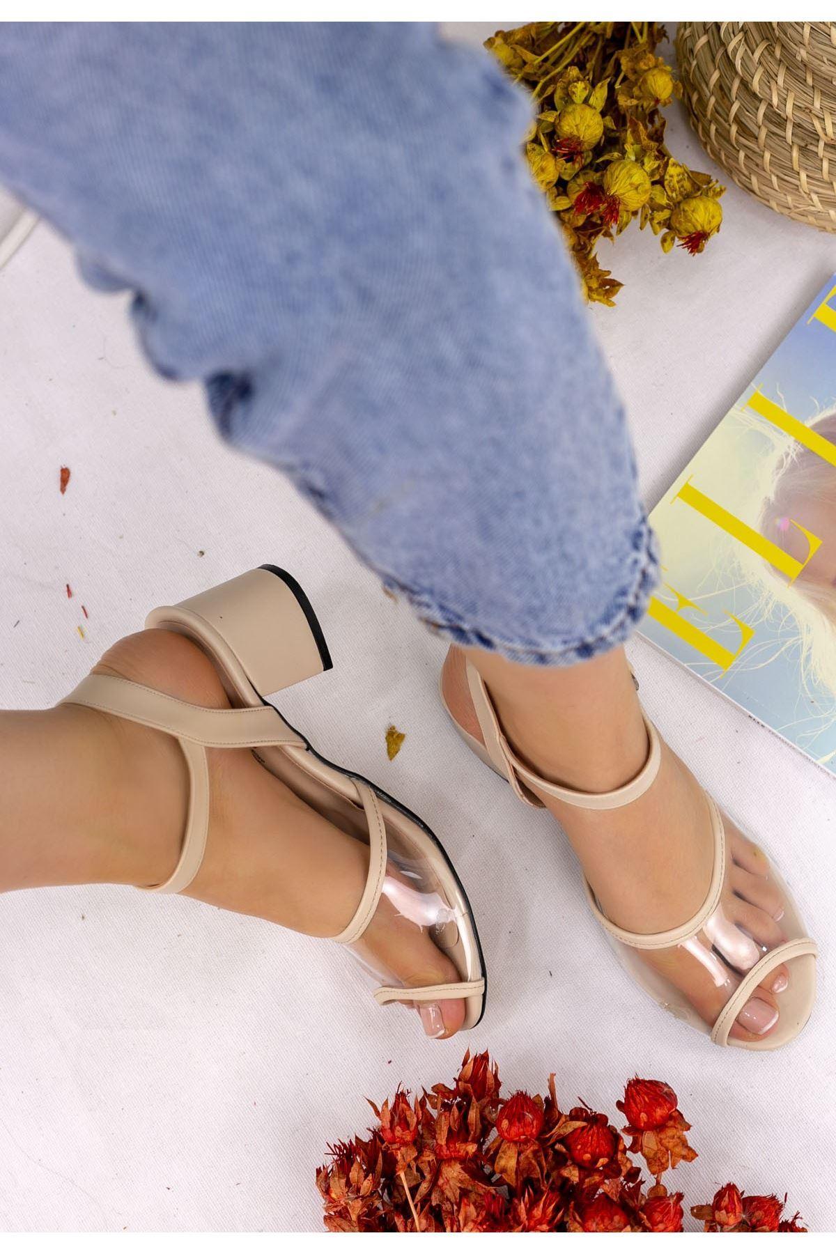 Robel Krem Cilt Topuklu Ayakkabı
