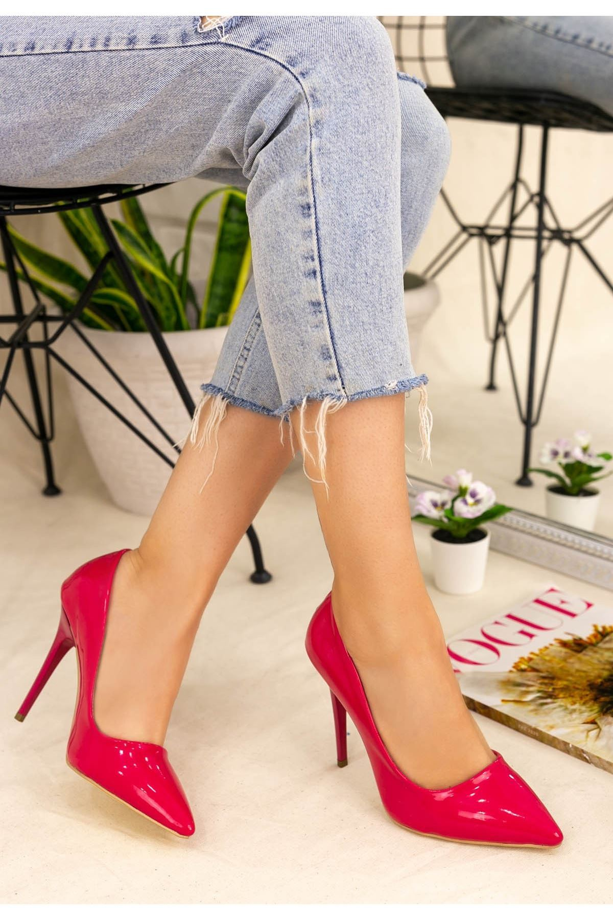 Muad Fuşya Rugan Stiletto Ayakkabı