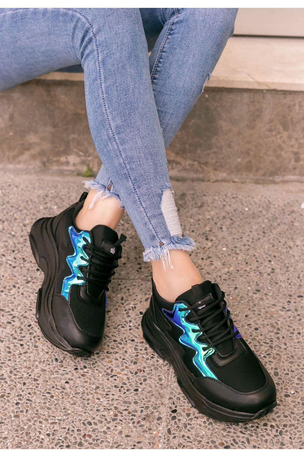 Katalina Siyah Cilt Hologramlı Spor Ayakkabı