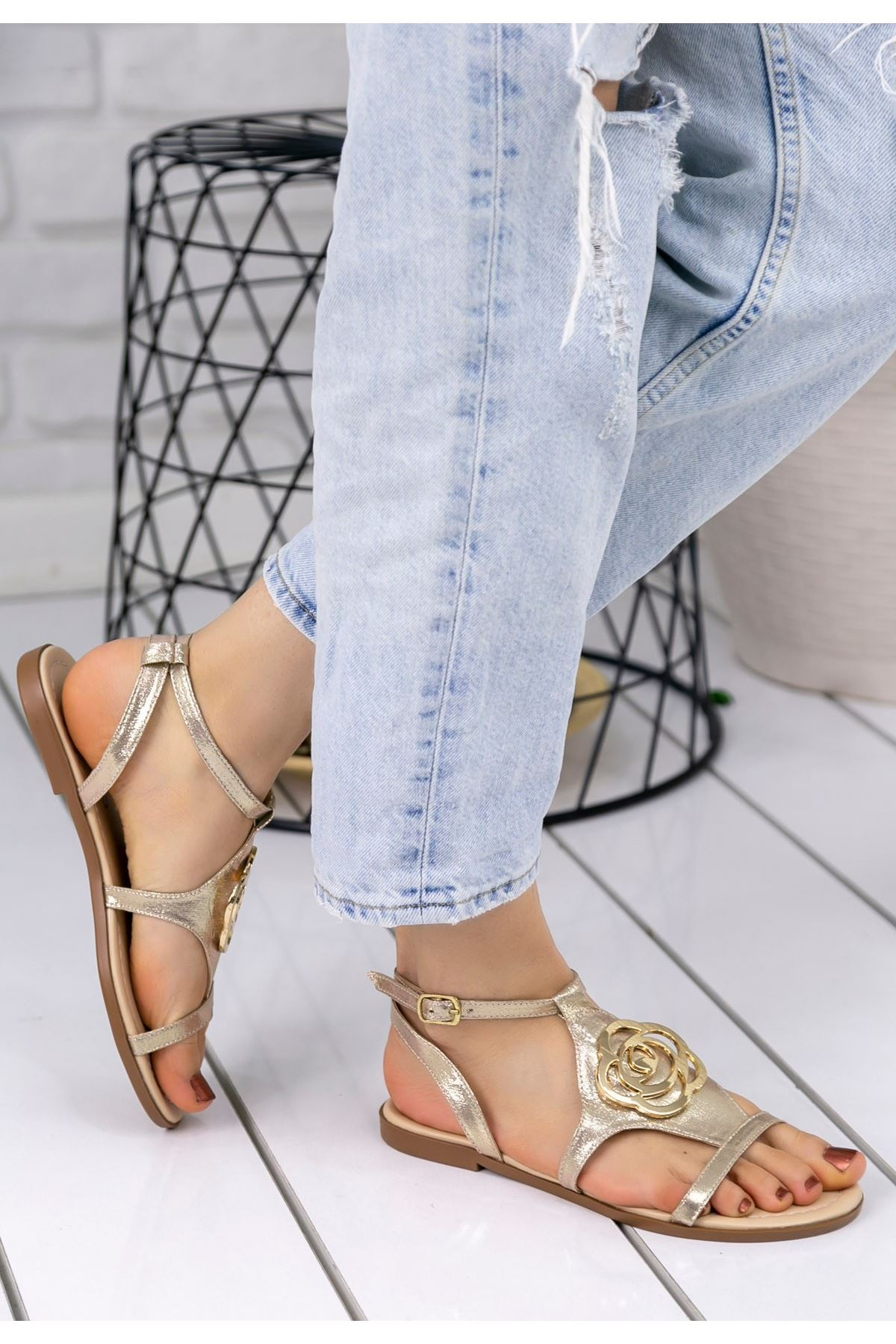 Pink Gold Cilt Sandalet