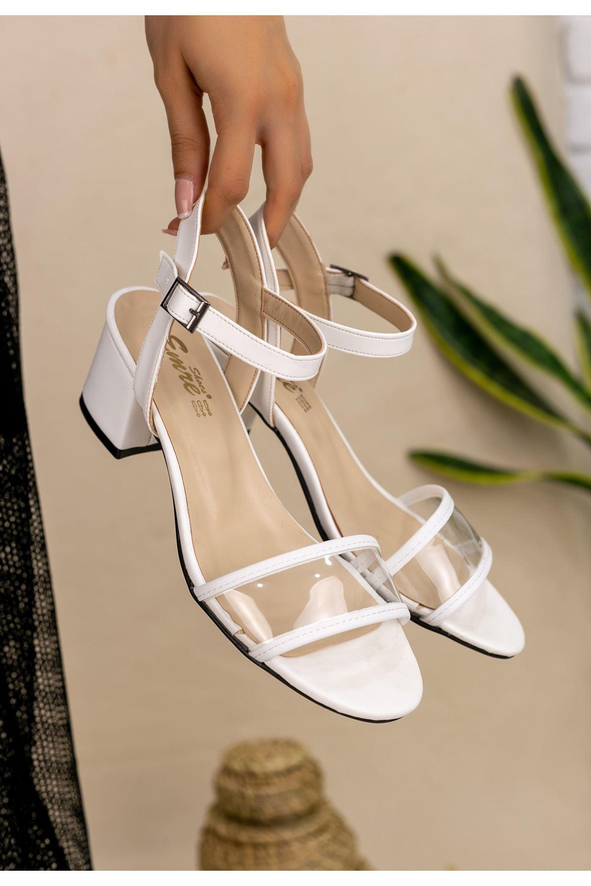 Robel Beyaz Cilt Tek Bant Topuklu Ayakkabı