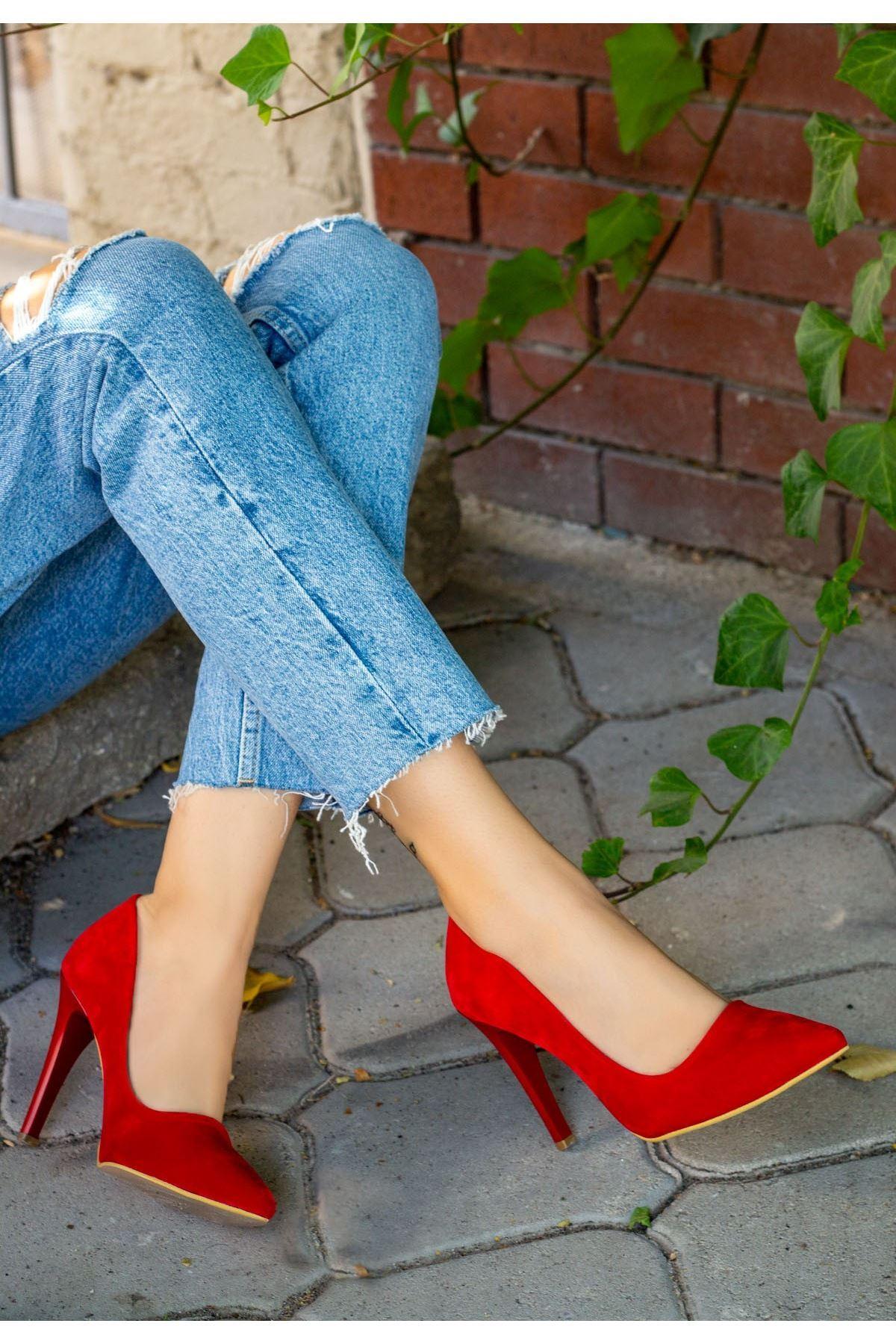 Taylox Kırmızı Süet Stiletto Ayakkabı