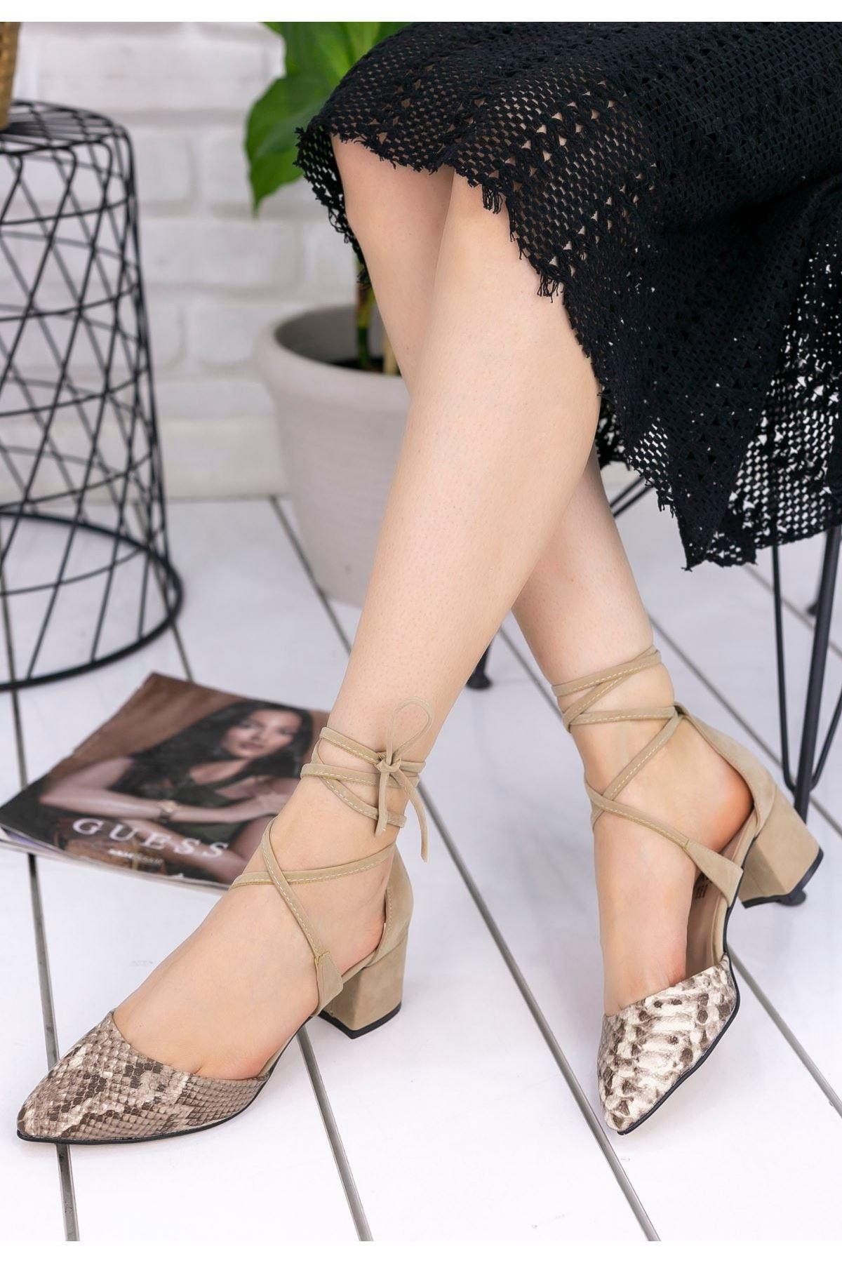 Liami Vizon Cilt Süet Topuklu Ayakkabı