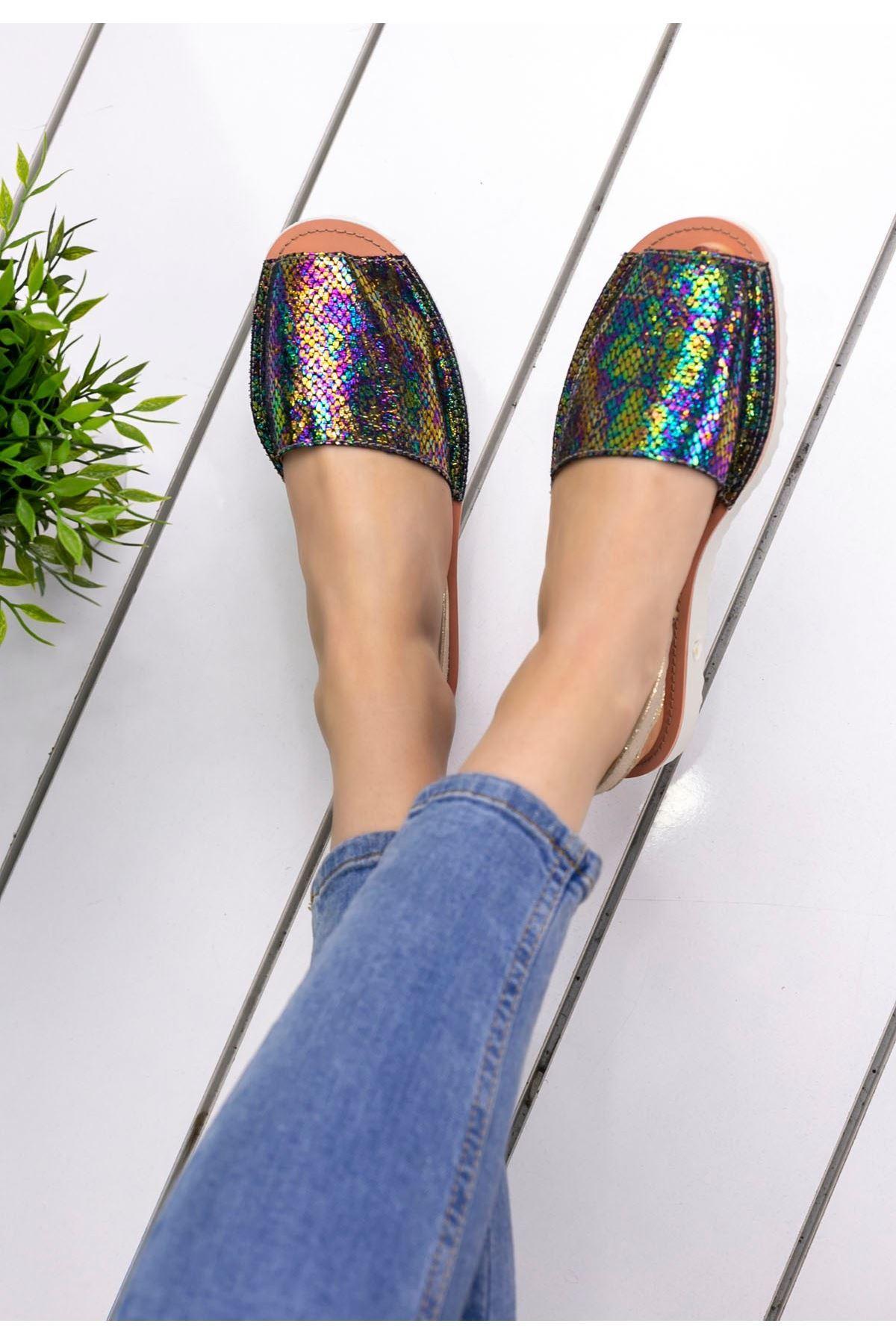 Samiye  Mor Cilt Desenli Sandalet