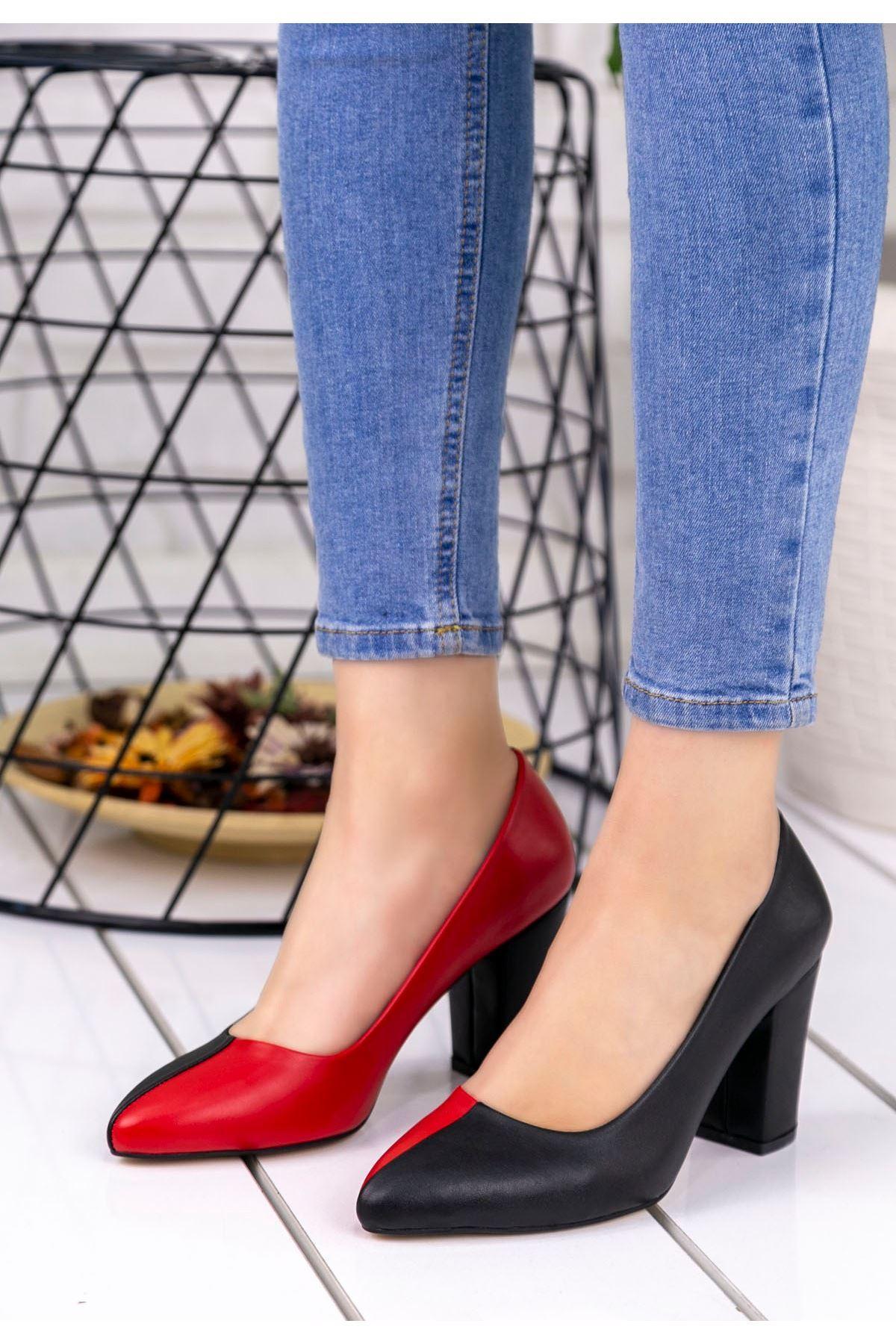 Dena Siyah Kırmızı Topuklu Ayakkabı