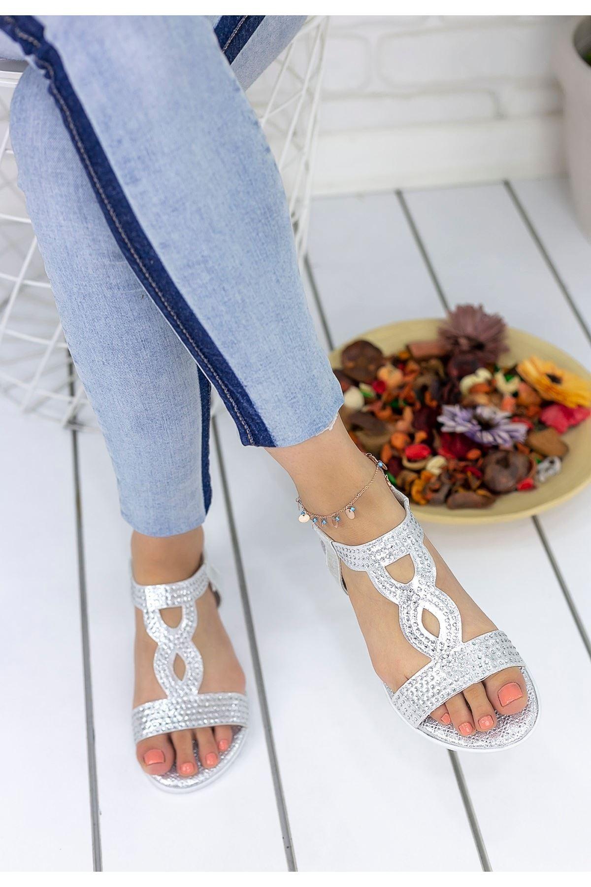 Jocelyn Gümüş Cilt Sandalet