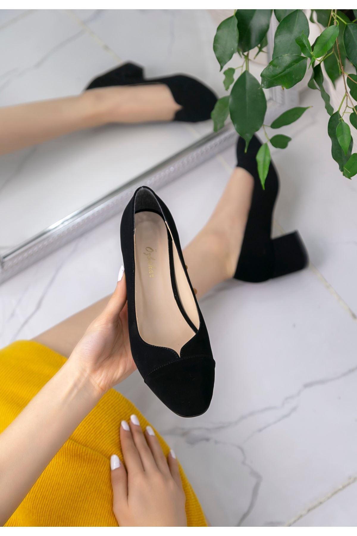 Shana Siyah Süet Topuklu Ayakkabı