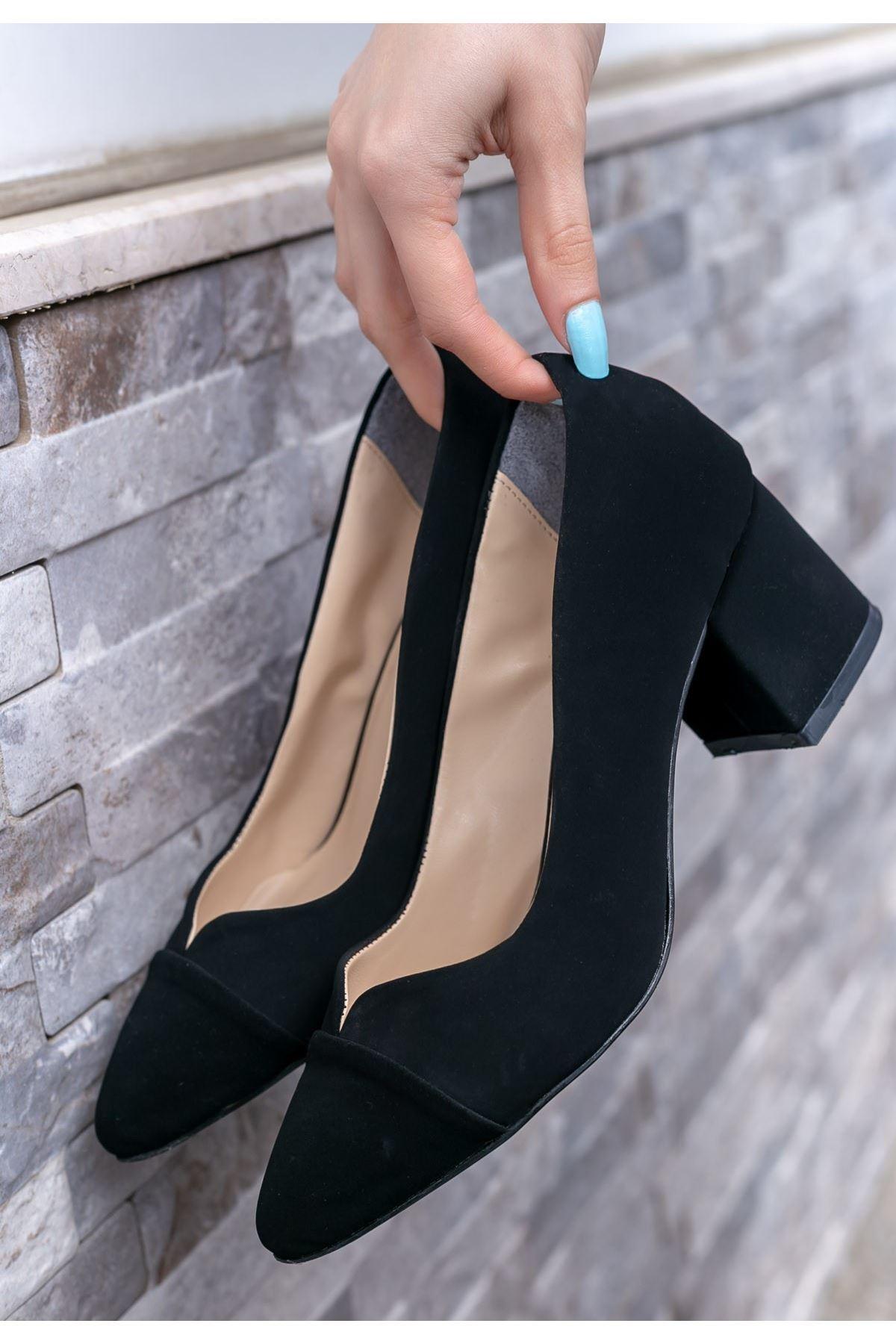 Goldie Siyah Süet Topuklu Ayakkabı