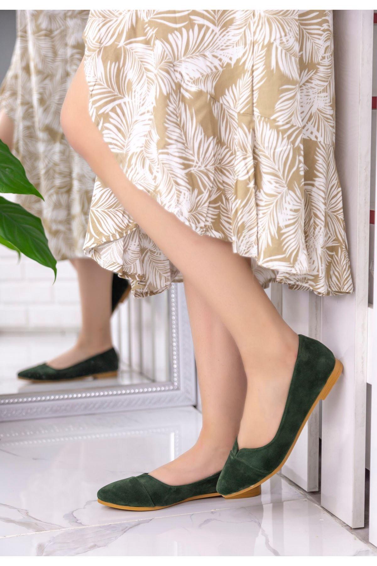 Yasmin Haki Yeşil Süet Babet