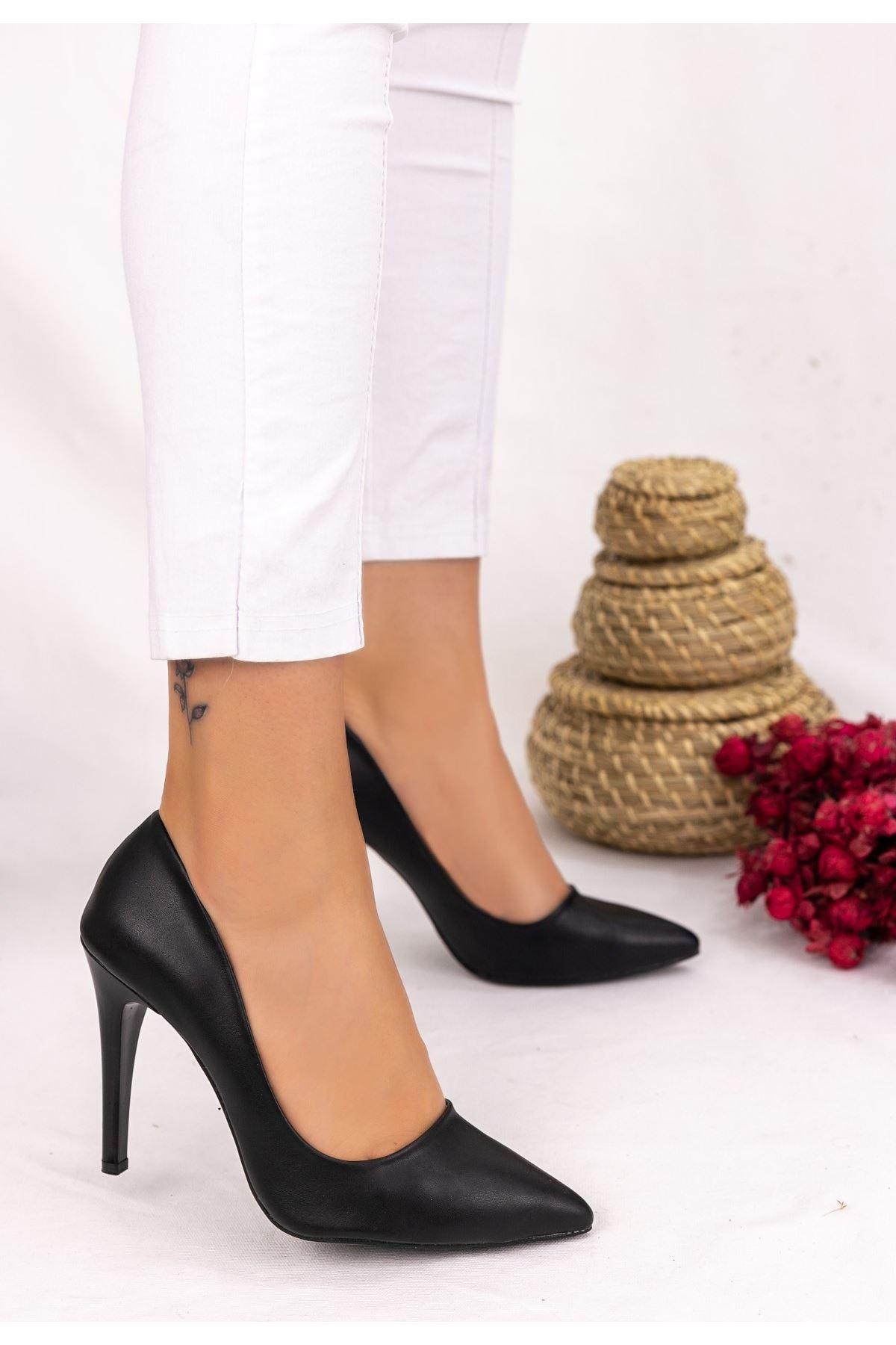 Taylox Siyah Cilt Stiletto Ayakkabı