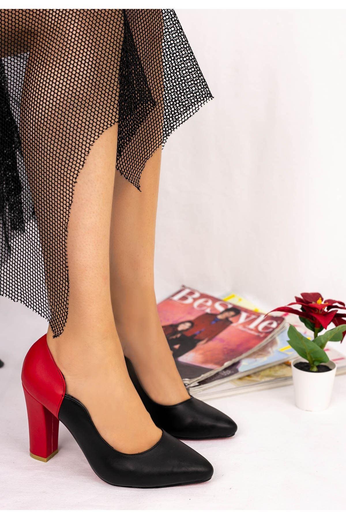 İlene Siyah Cilt Kırmızı Topuklu Ayakkabı