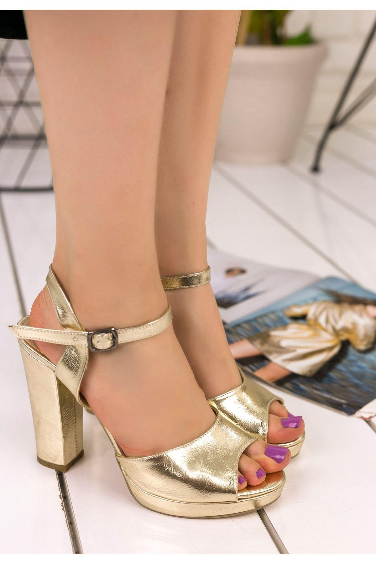 Blaze Gold Cilt Topuklu Ayakkabı