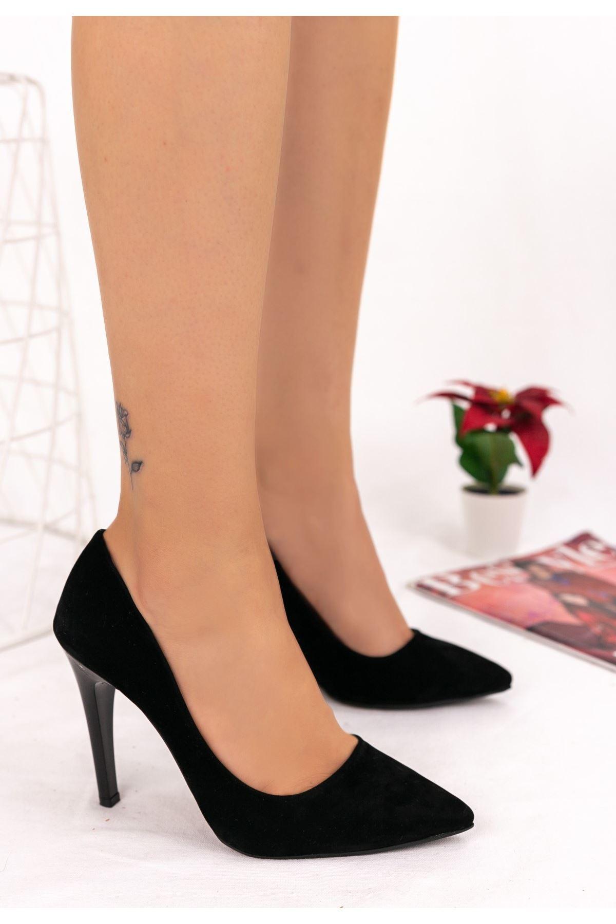 Taylox Siyah Süet Stiletto Ayakkabı