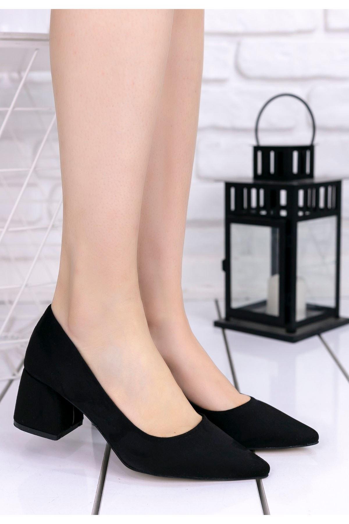 Nisa Siyah Süet Topuklu Ayakkabı