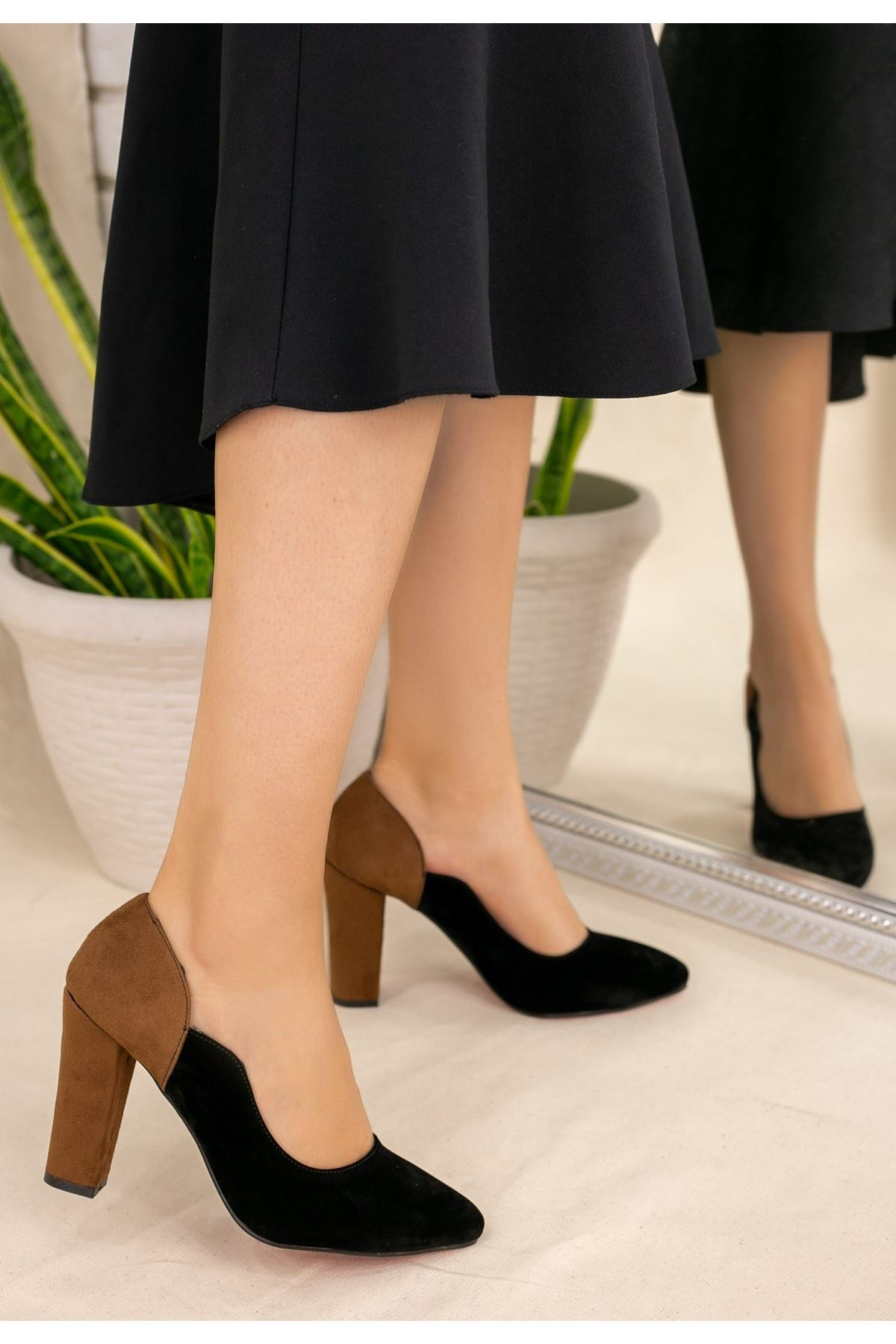 İlene Siyah Süet Taba Topuklu Ayakkabı