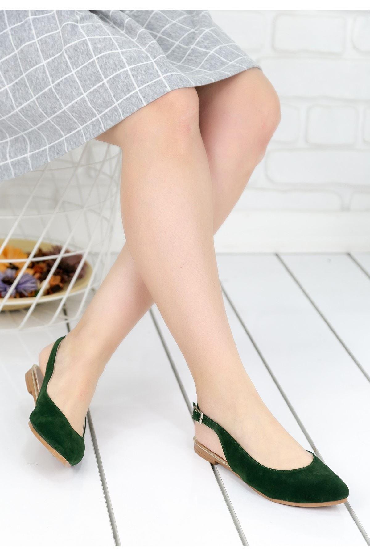 Evedna Haki Yeşil Süet Babet Ayakkabı