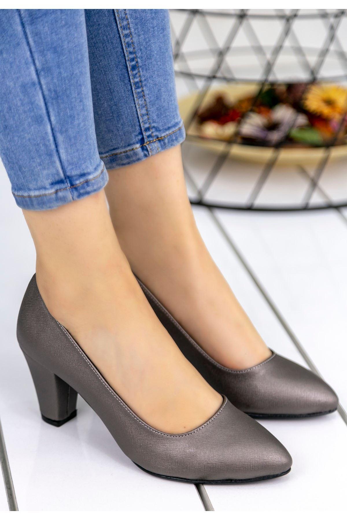Tacito Platin Cilt Topuklu Ayakkabı