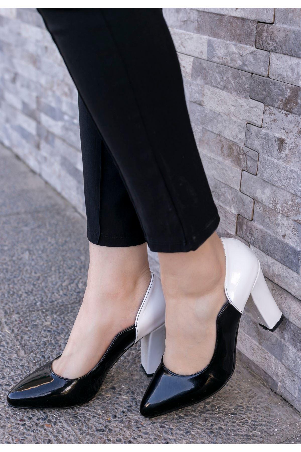İlene Siyah Rugan Beyaz Topuklu Ayakkabı