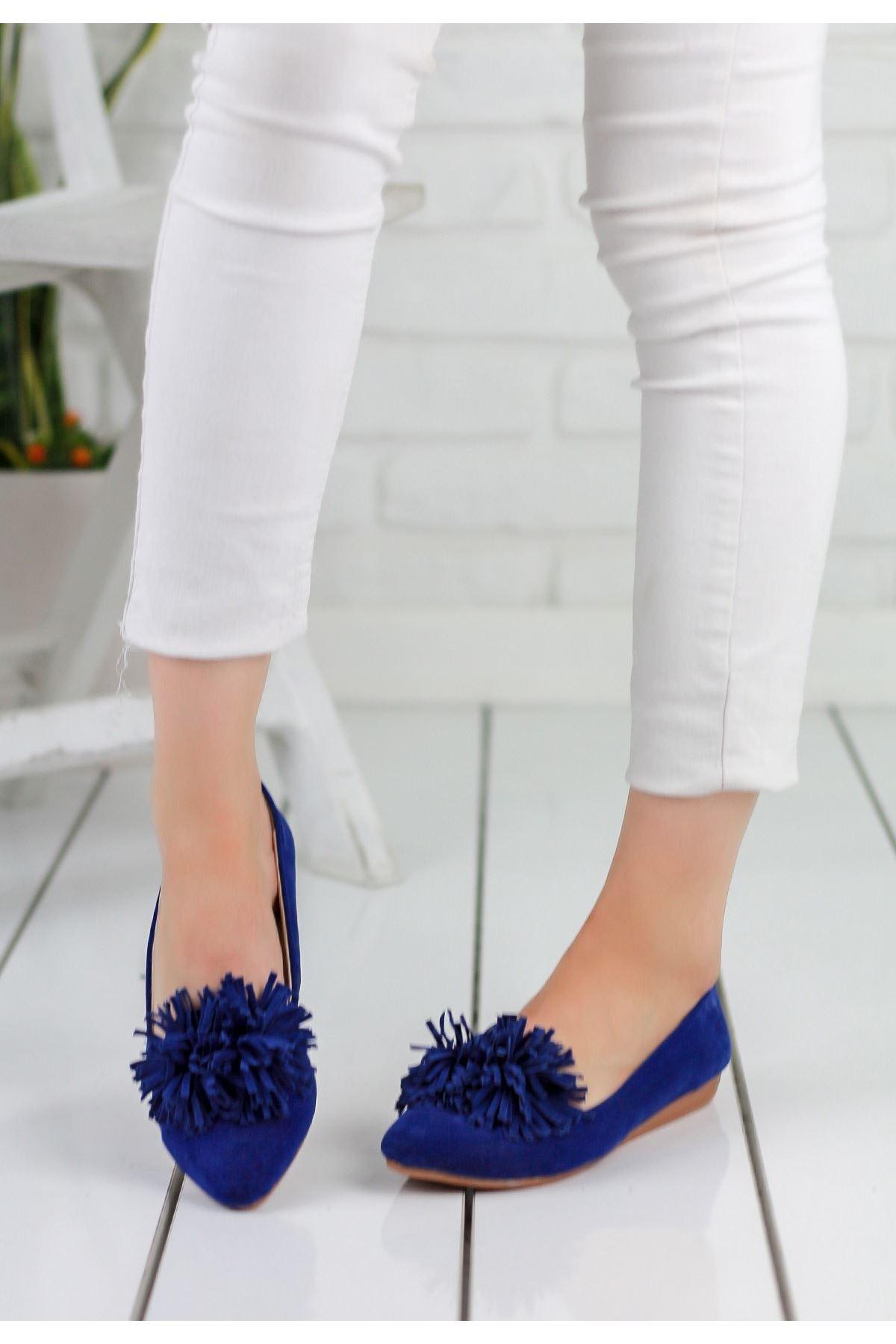 Silvano Saks Mavisi Süet Bayan Babet Ayakkabı